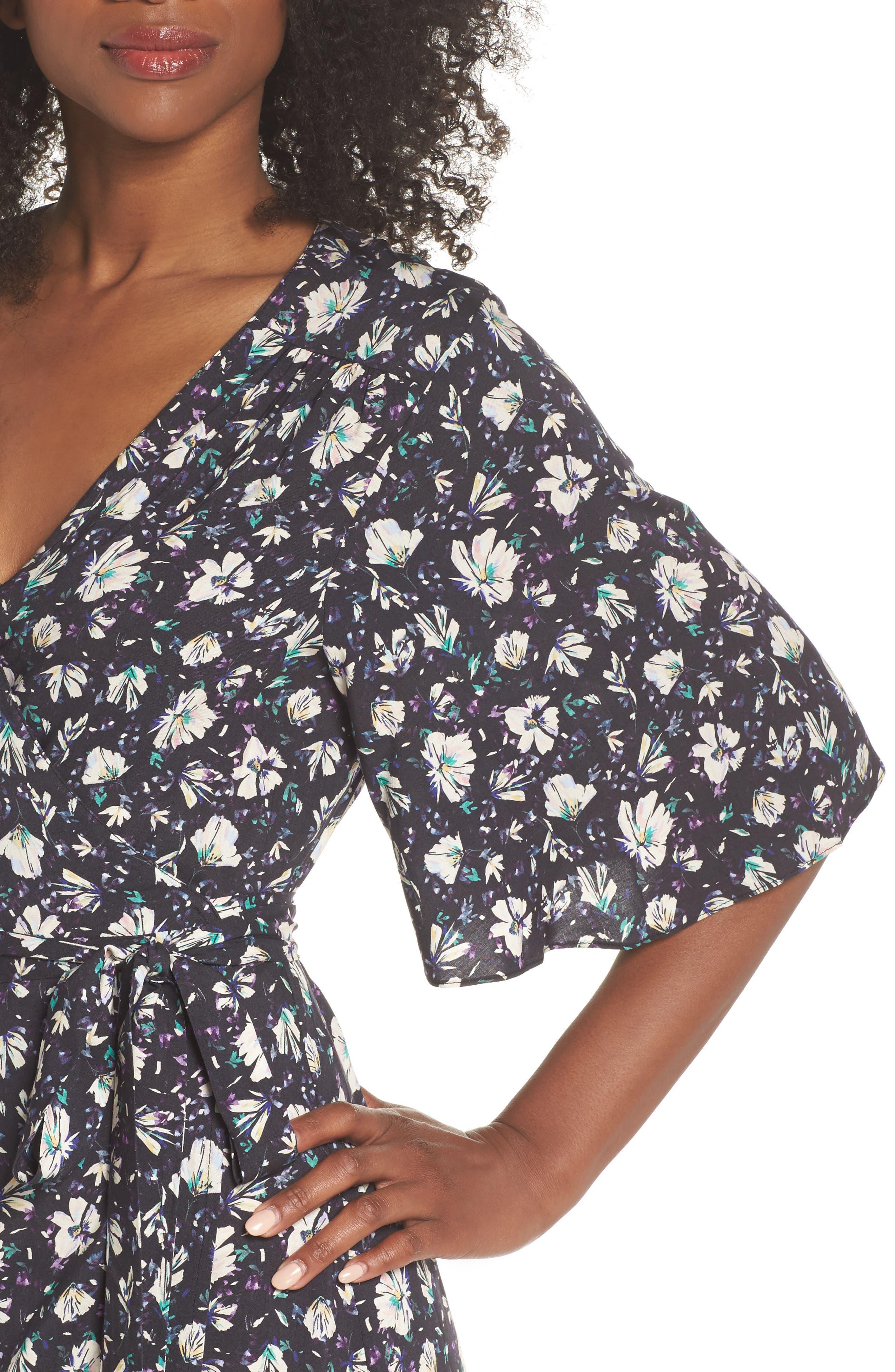 Lonny Floral Wrap Dress,                             Alternate thumbnail 4, color,                             London Floral