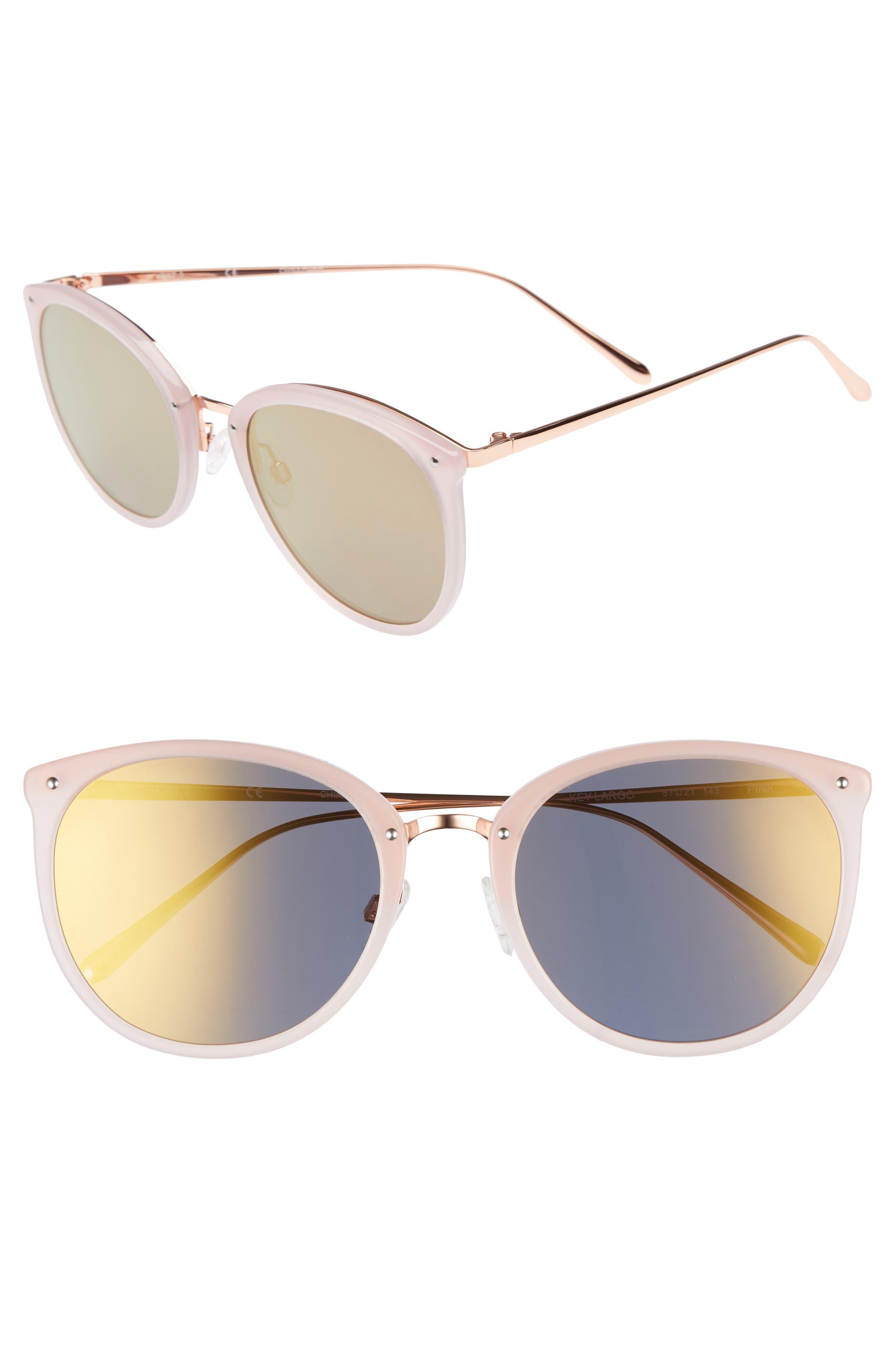 Key Largo 57mm Sunglasses,                             Main thumbnail 1, color,                             Milky Pink