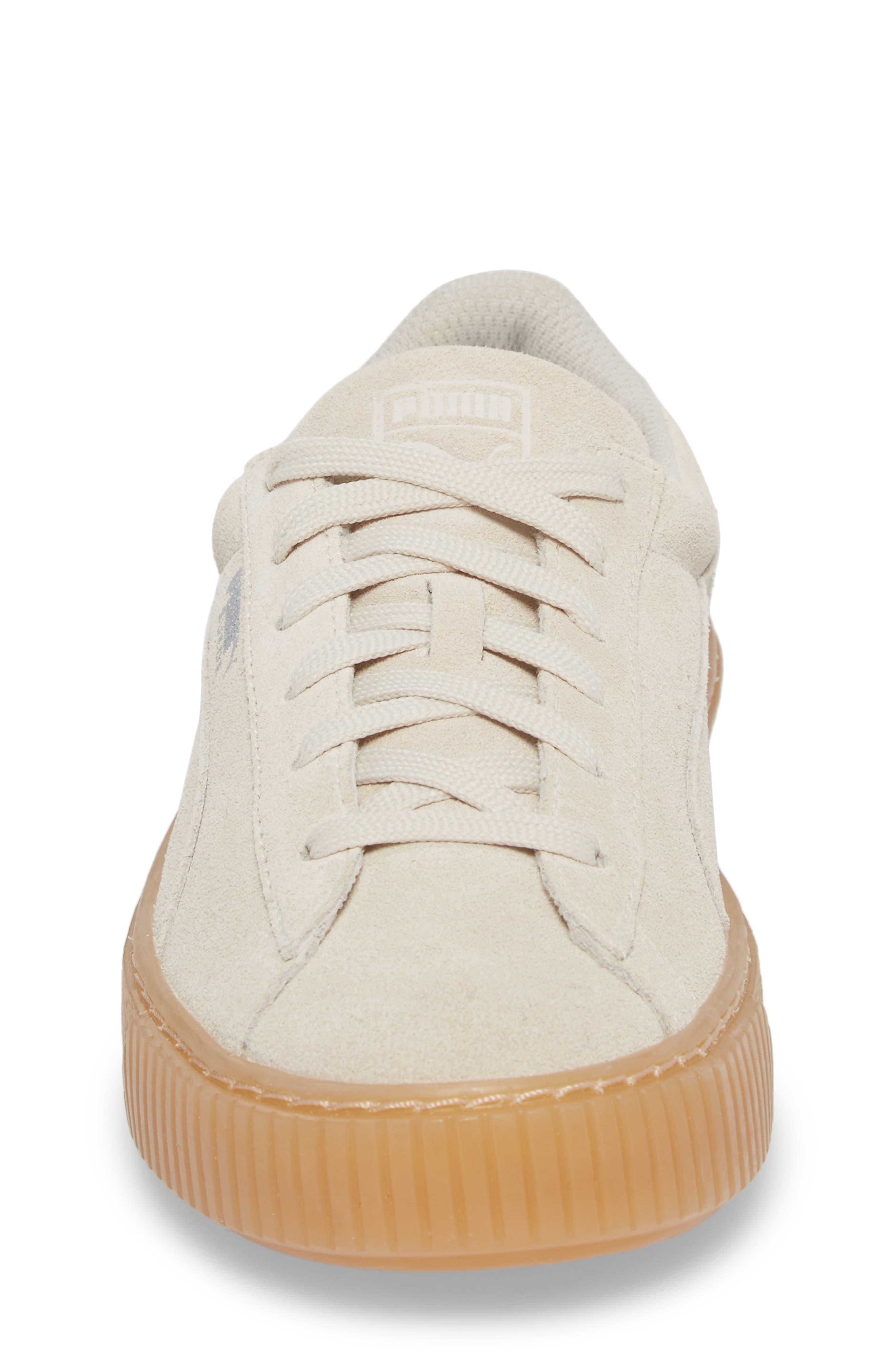 Jewel Suede Platform Sneaker,                             Alternate thumbnail 4, color,                             Whisper White/ Whisper White