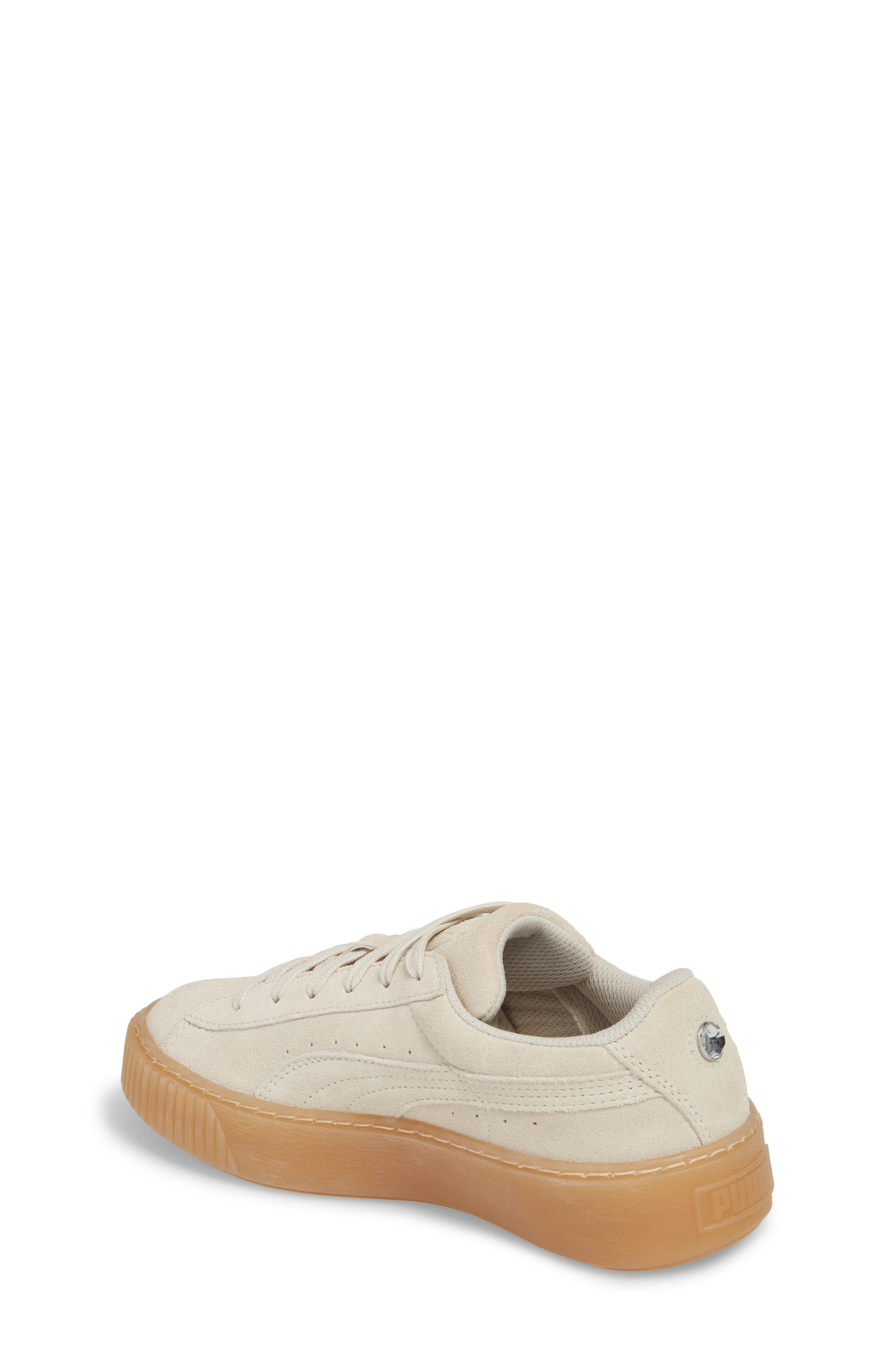 Jewel Suede Platform Sneaker,                             Alternate thumbnail 2, color,                             Whisper White/ Whisper White