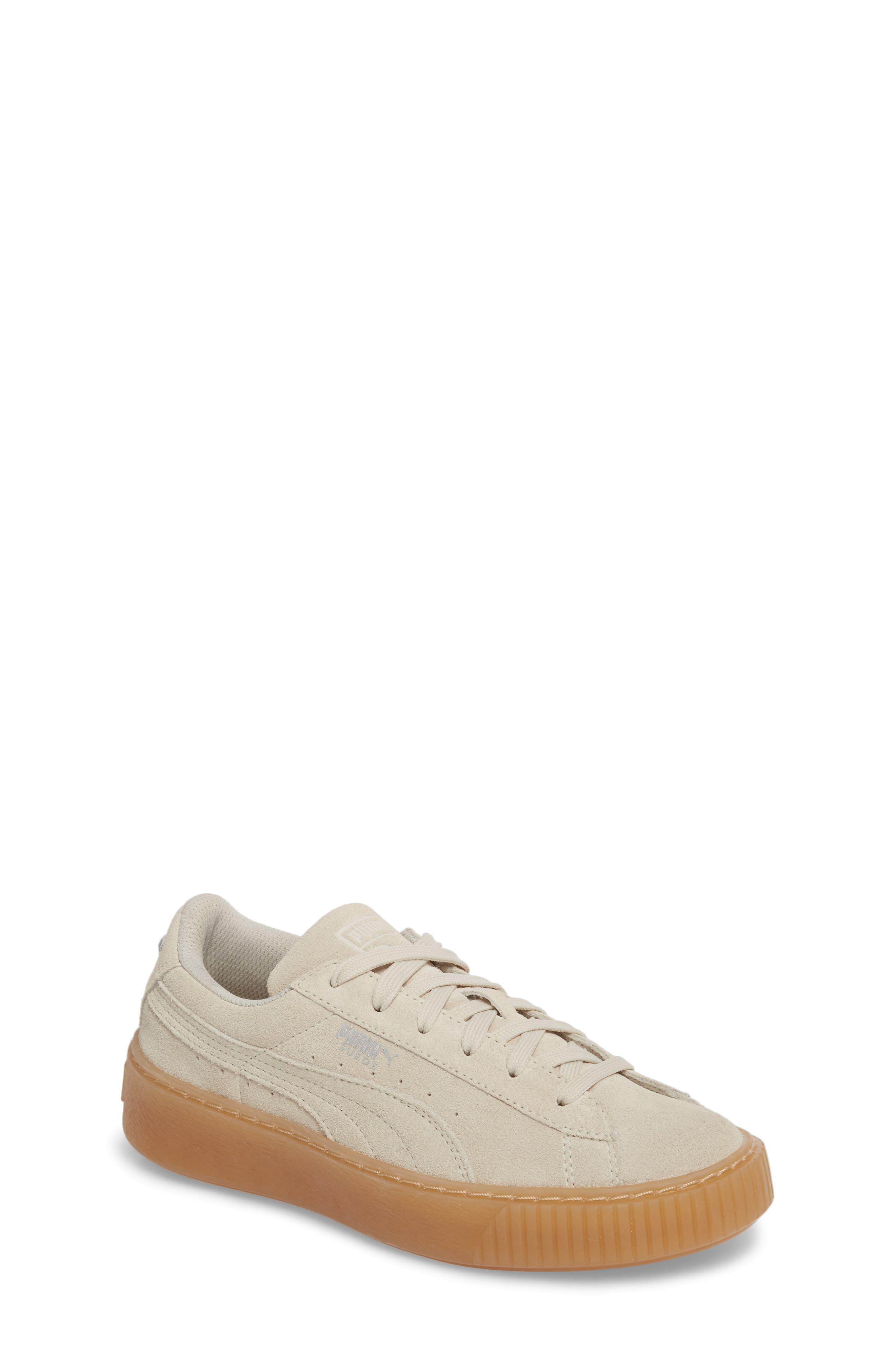 Jewel Suede Platform Sneaker,                         Main,                         color, Whisper White/ Whisper White