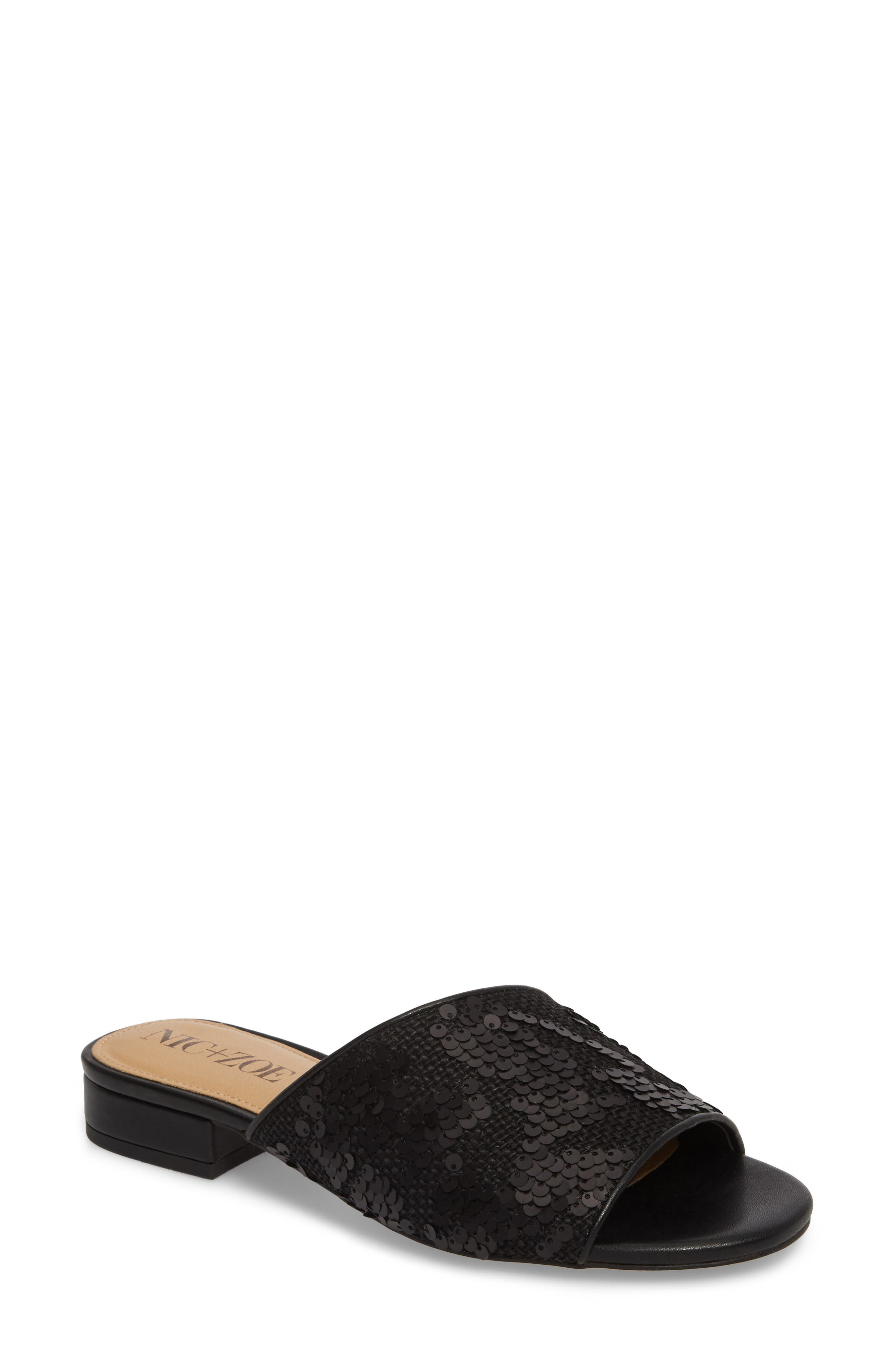 Stella Slide Sandal,                             Main thumbnail 1, color,                             Black Sequin Fabric