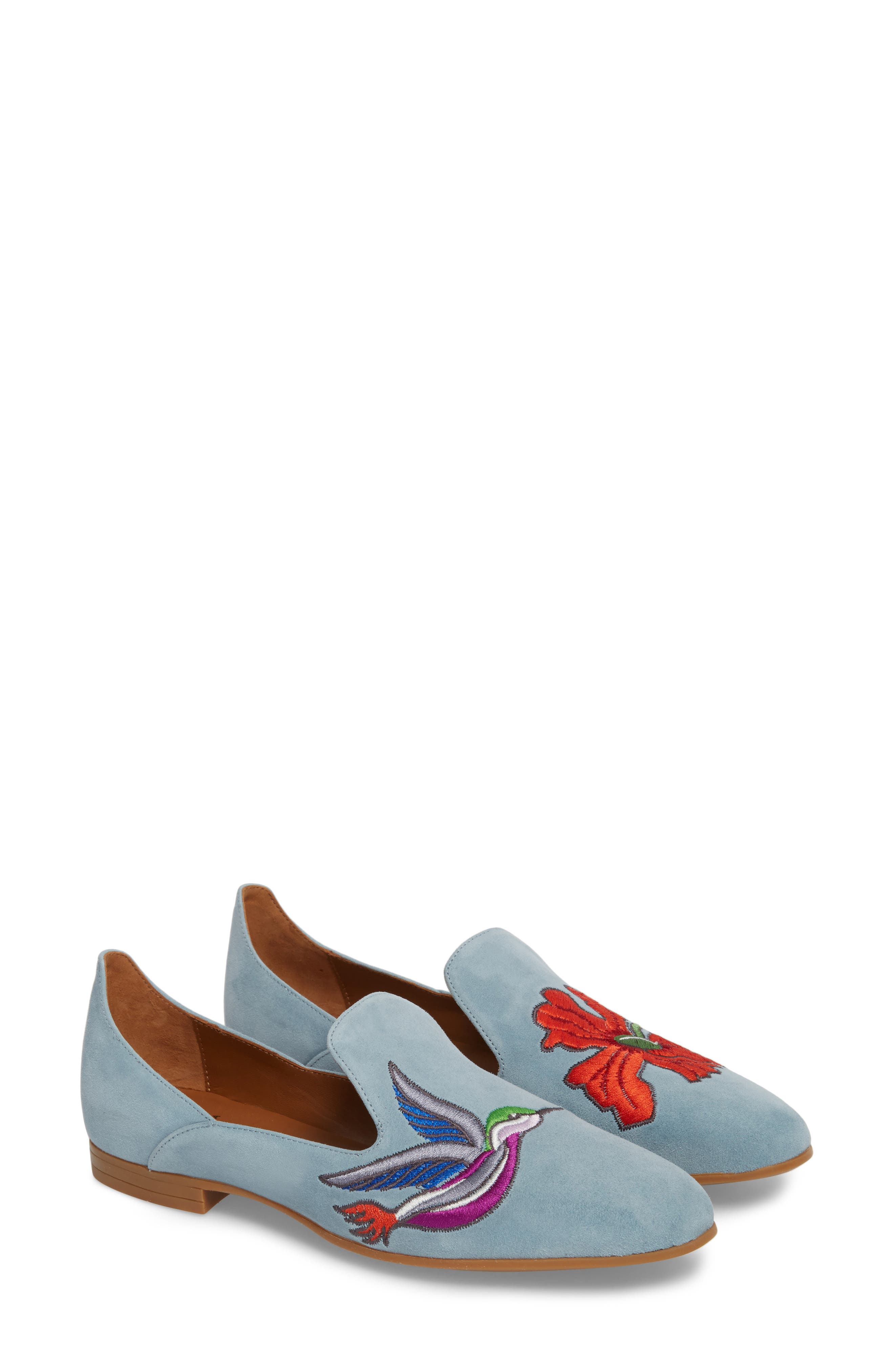 Emmaline Embroidered Loafer,                             Alternate thumbnail 2, color,                             Chambray