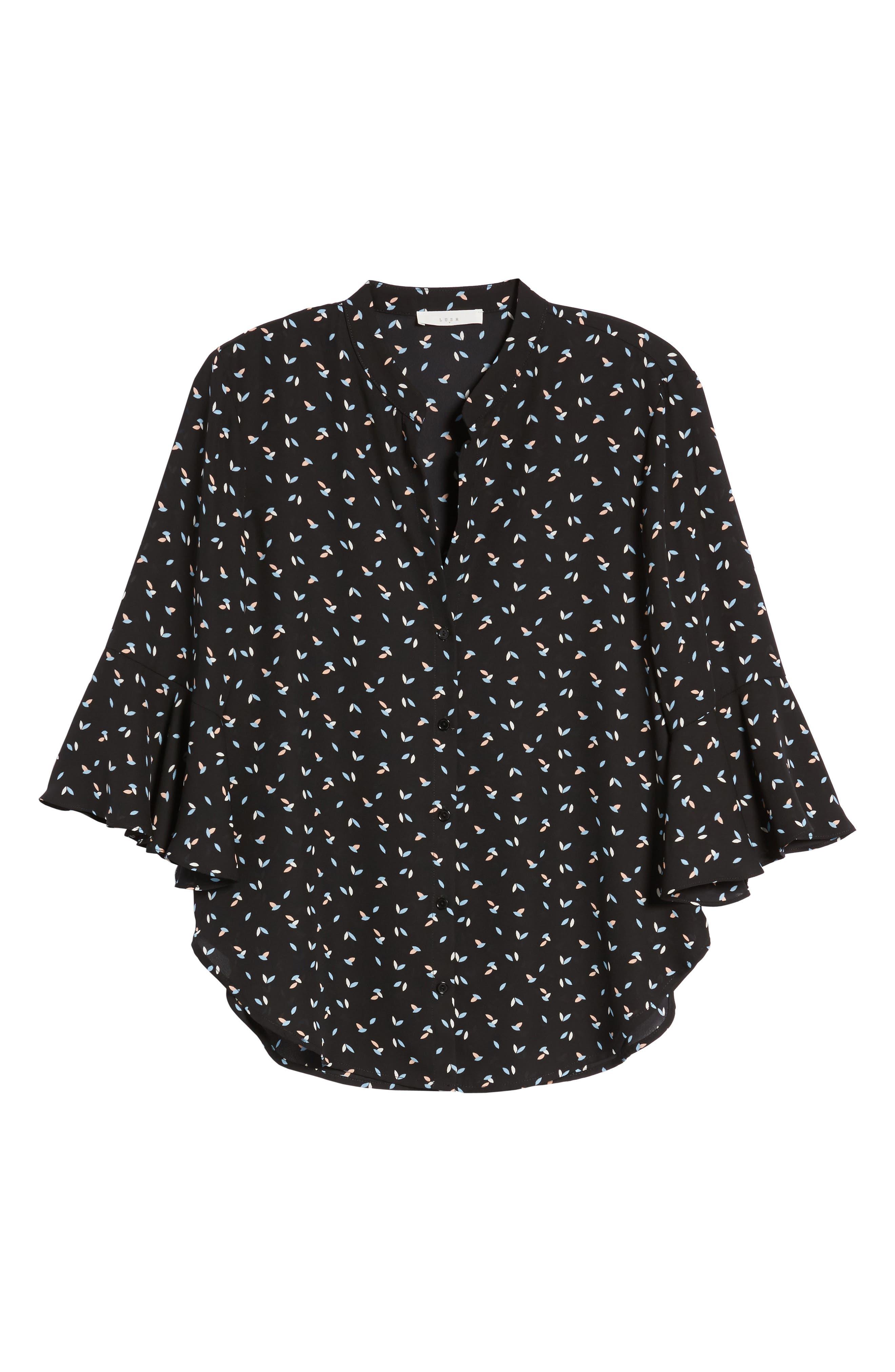 Print Bell Sleeve Shirt,                             Alternate thumbnail 6, color,                             Black-Blue-Pink