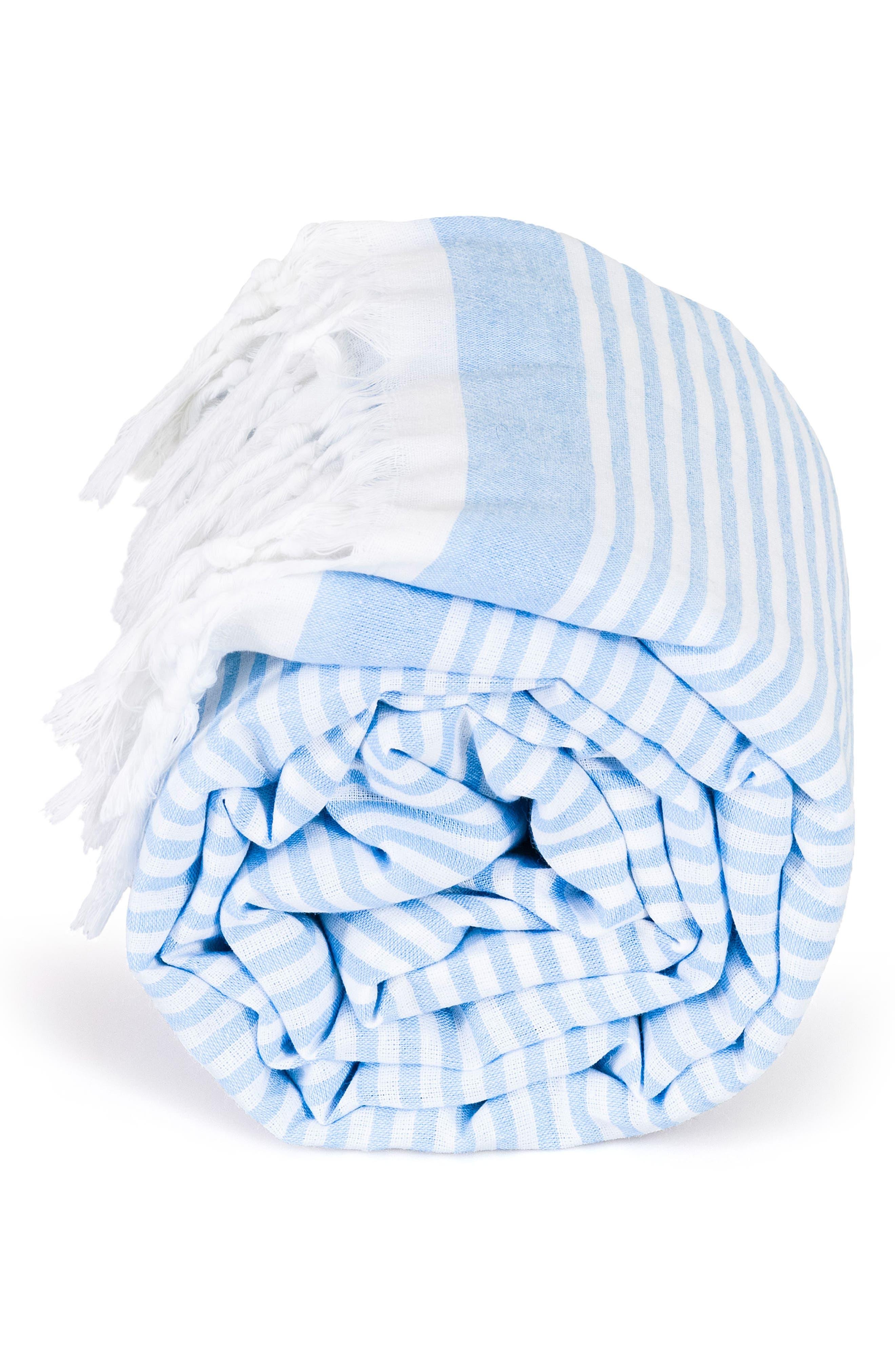 Soft Stripes Turkish Pestemal Towel,                             Alternate thumbnail 2, color,                             Sky Blue