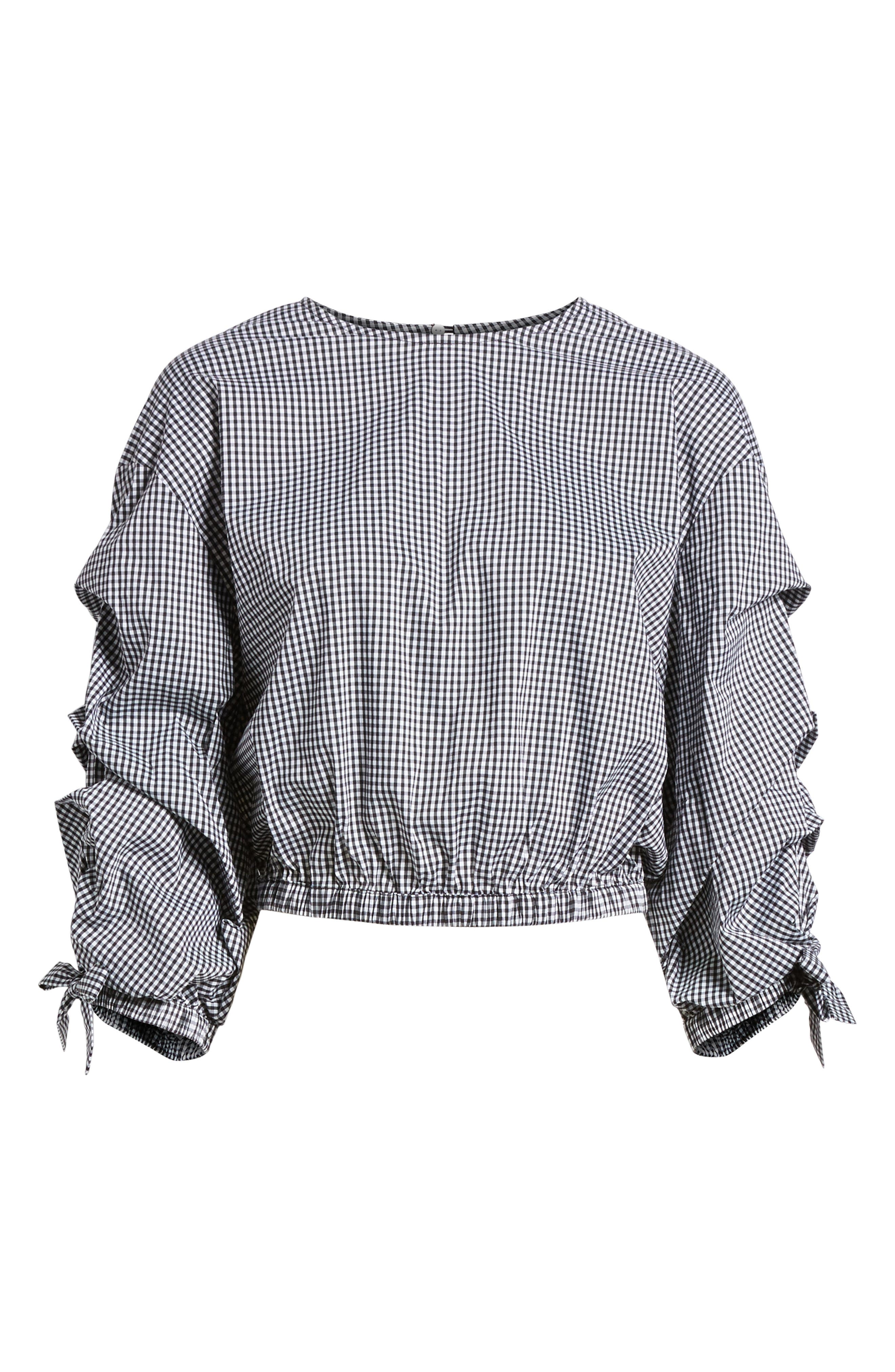 Bishop + Young Ruched Sleeve Blouse,                             Alternate thumbnail 6, color,                             Gingham