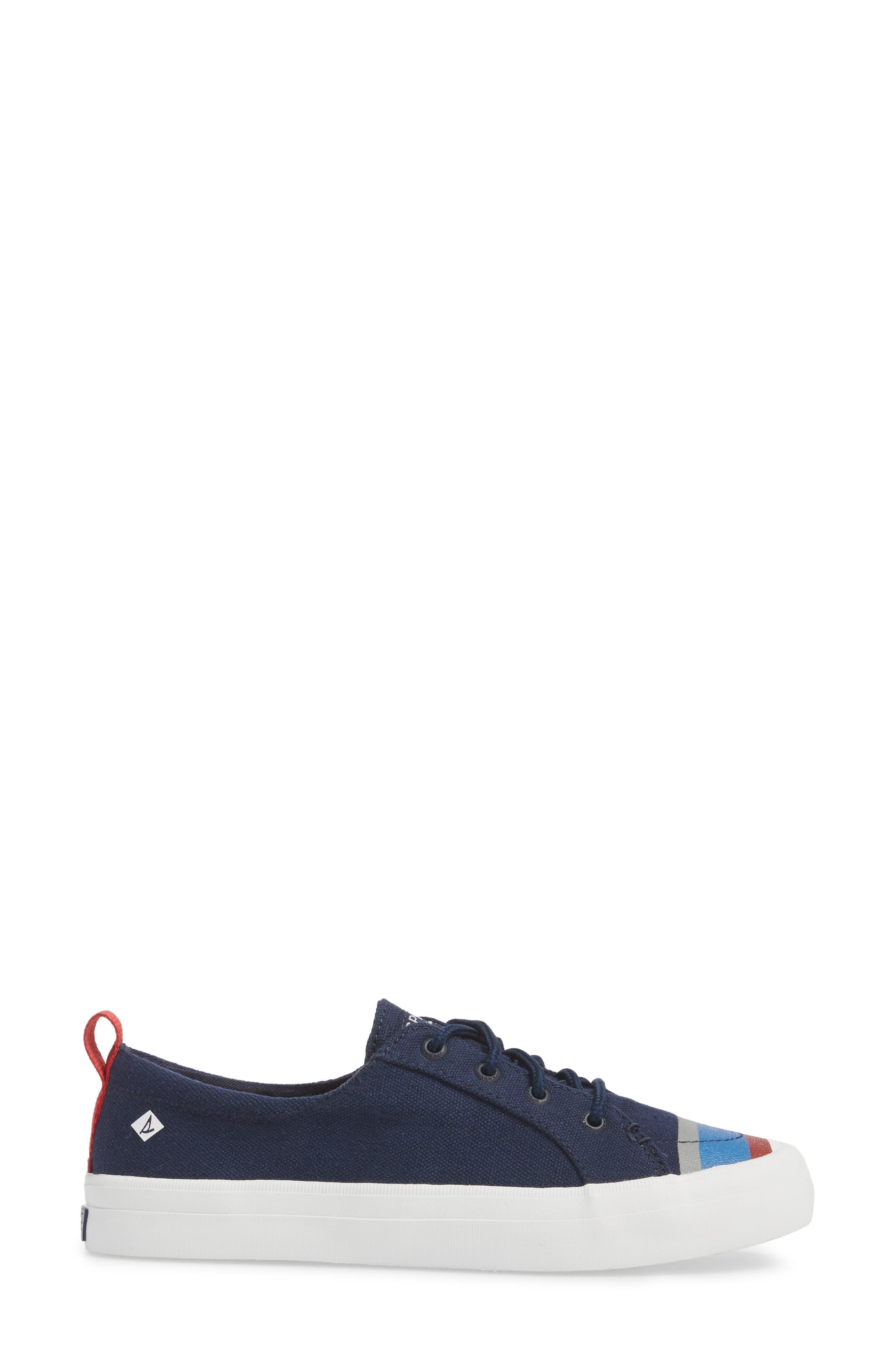Crest Vibe Slip-On Sneaker,                             Alternate thumbnail 3, color,                             Navy Buoy Stripe Canvas