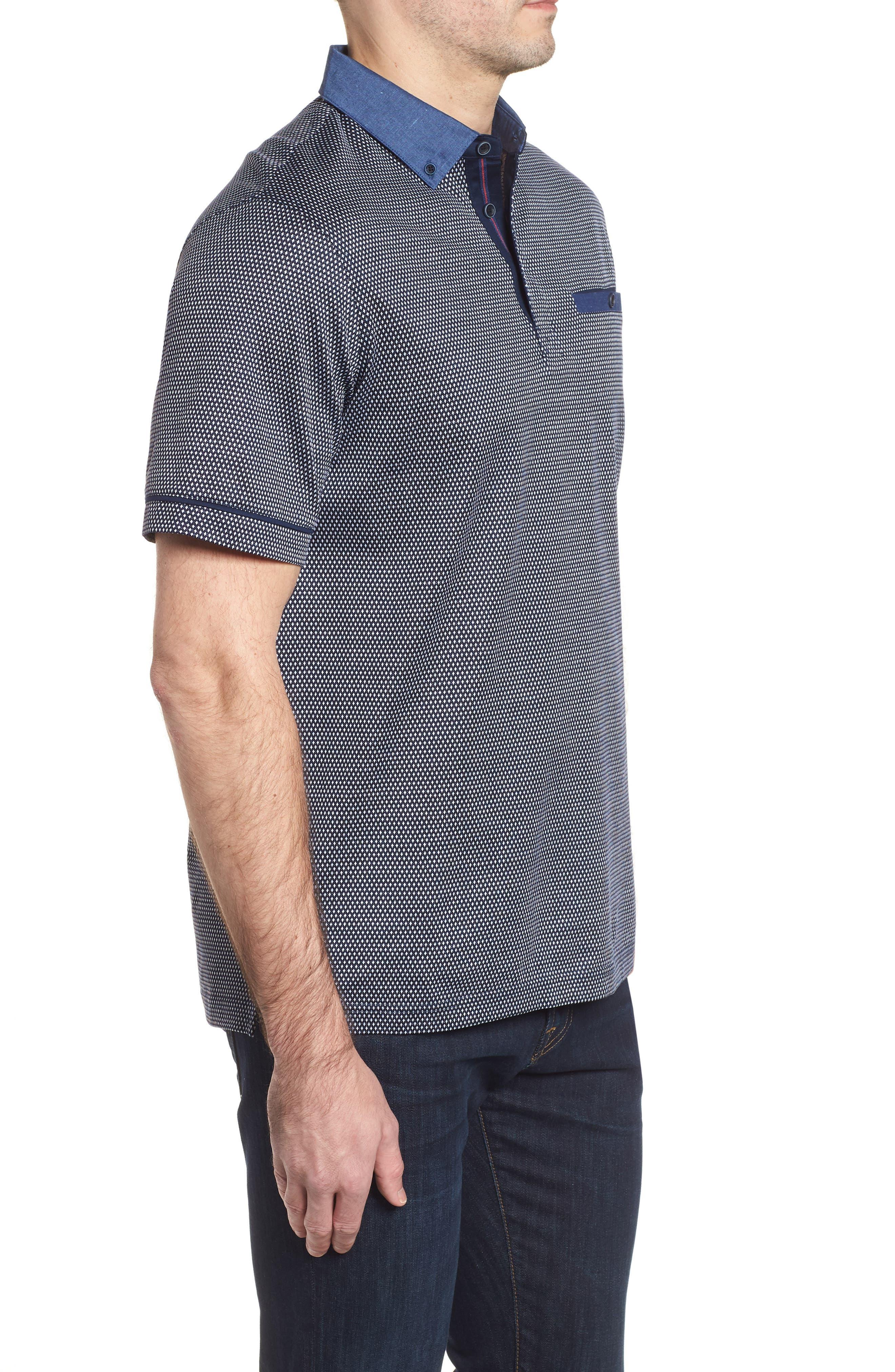 Regular Fit Knit Polo,                             Alternate thumbnail 3, color,                             Navy