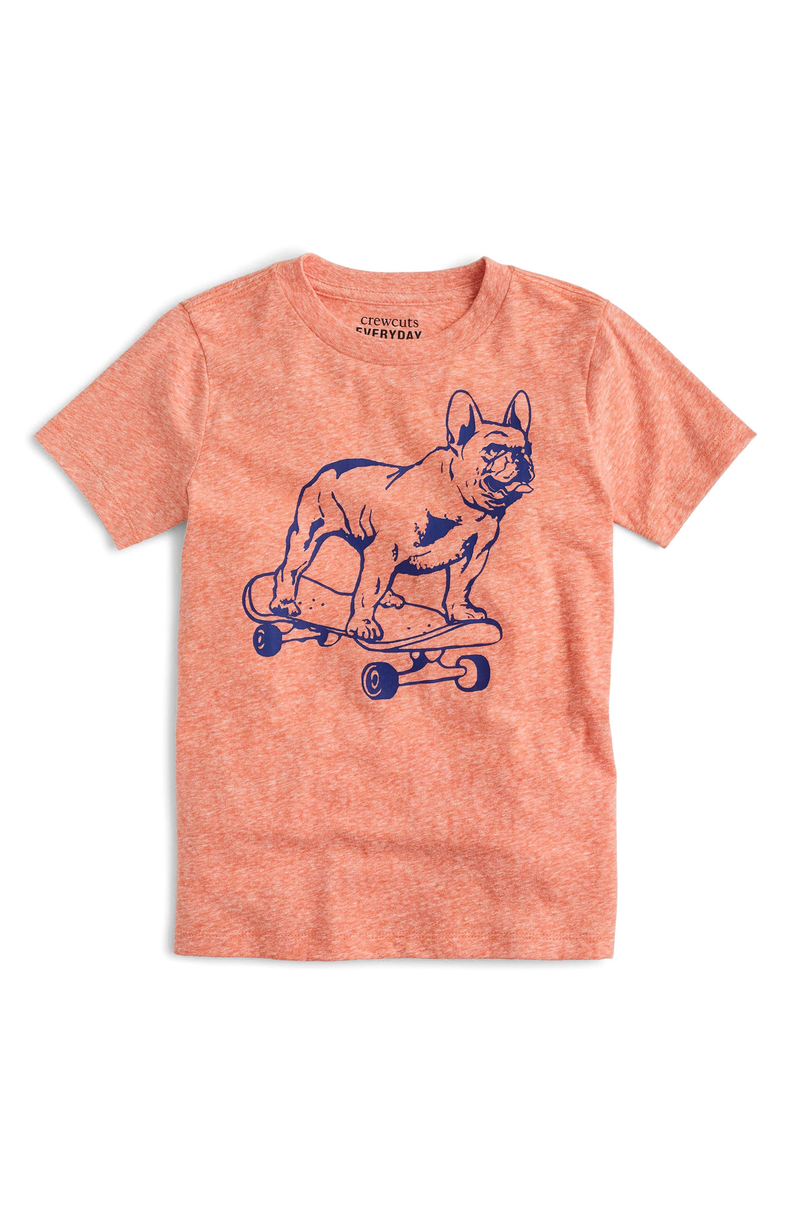 Skateboarding Bulldog T-Shirt,                             Main thumbnail 1, color,                             Ripe Papya