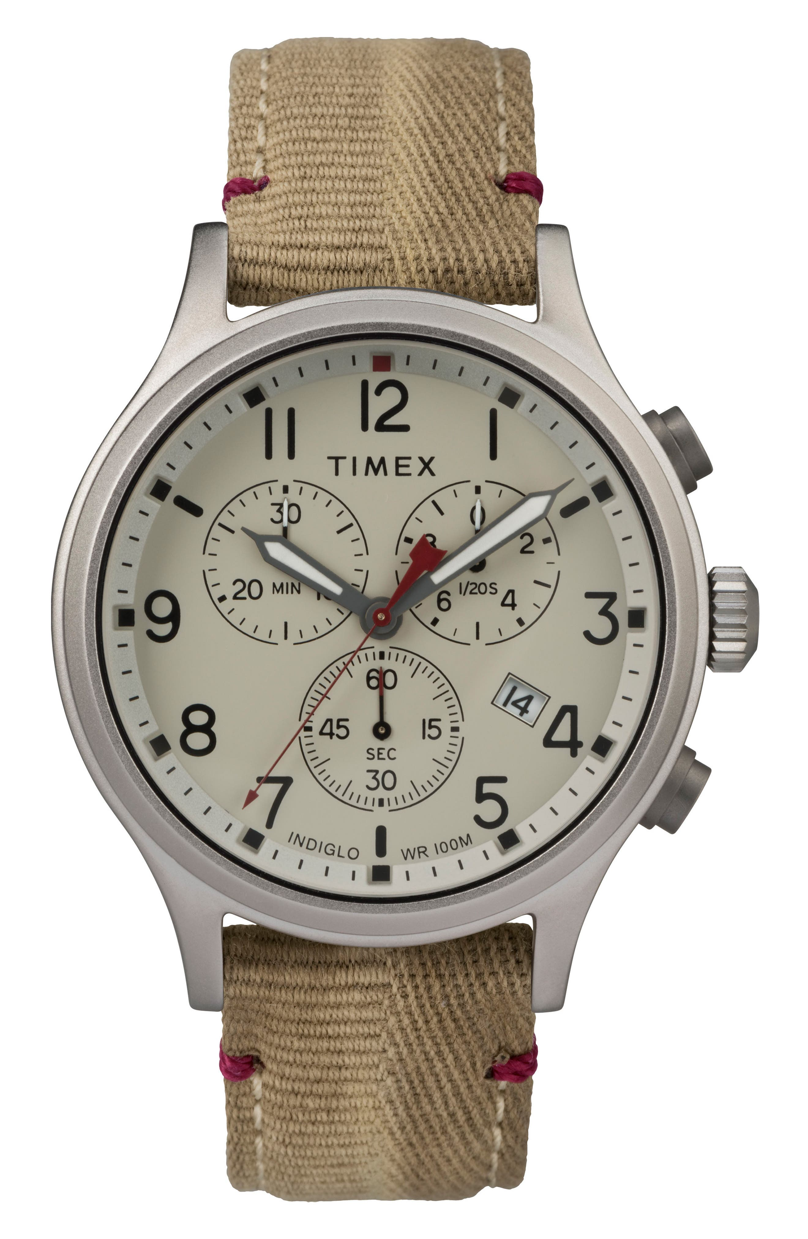 Allied Canvas Strap Watch, 42mm,                             Main thumbnail 1, color,                             Khaki/ Beige/ Silver