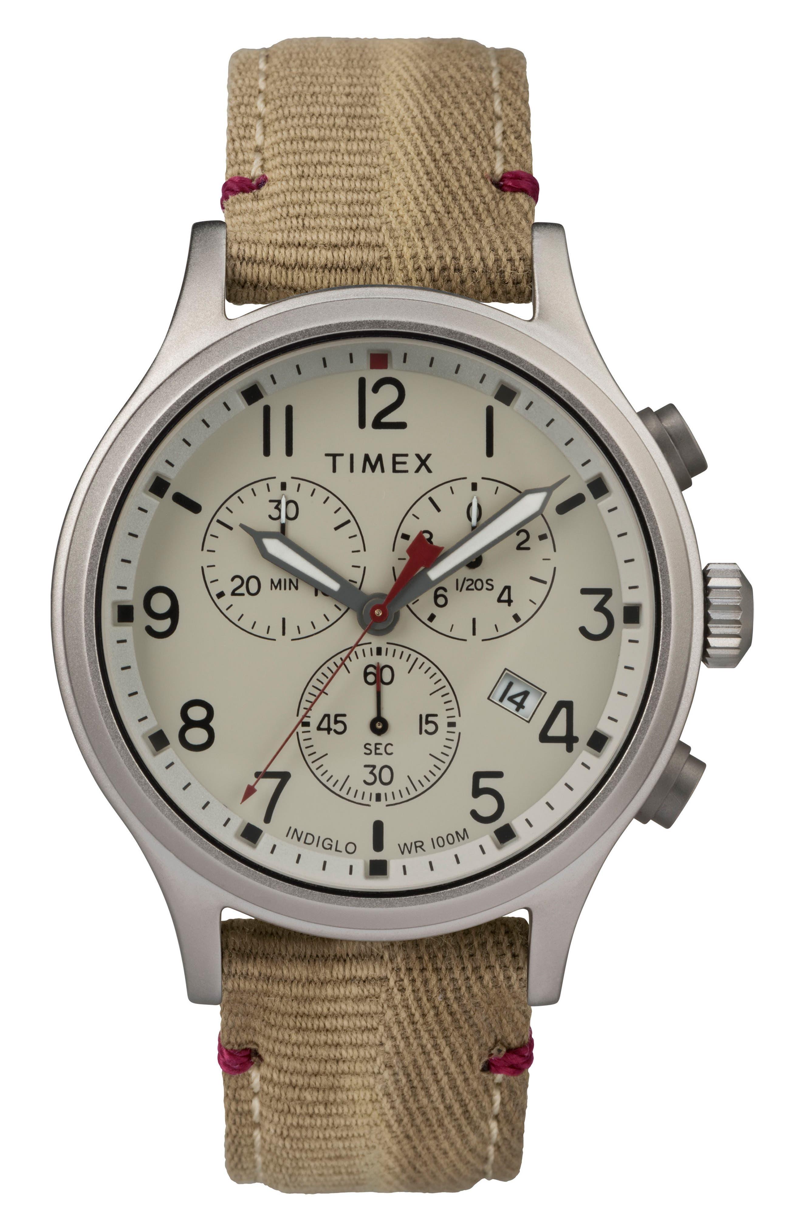 Allied Canvas Strap Watch, 42mm,                         Main,                         color, Khaki/ Beige/ Silver