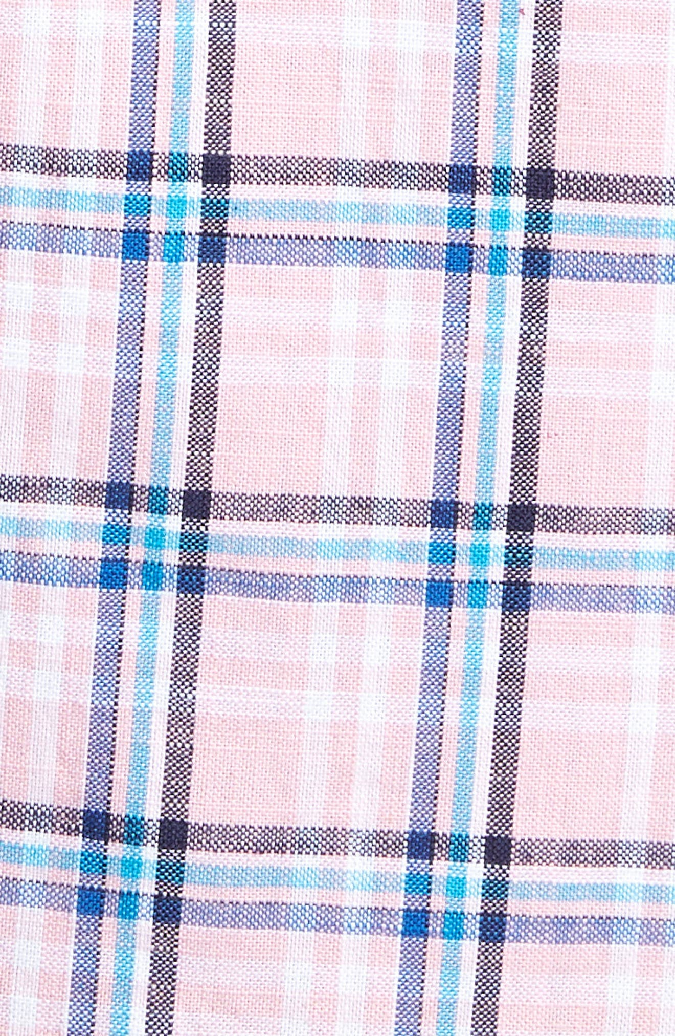 Plaid Oxford Sport Shirt,                             Alternate thumbnail 5, color,                             Pink