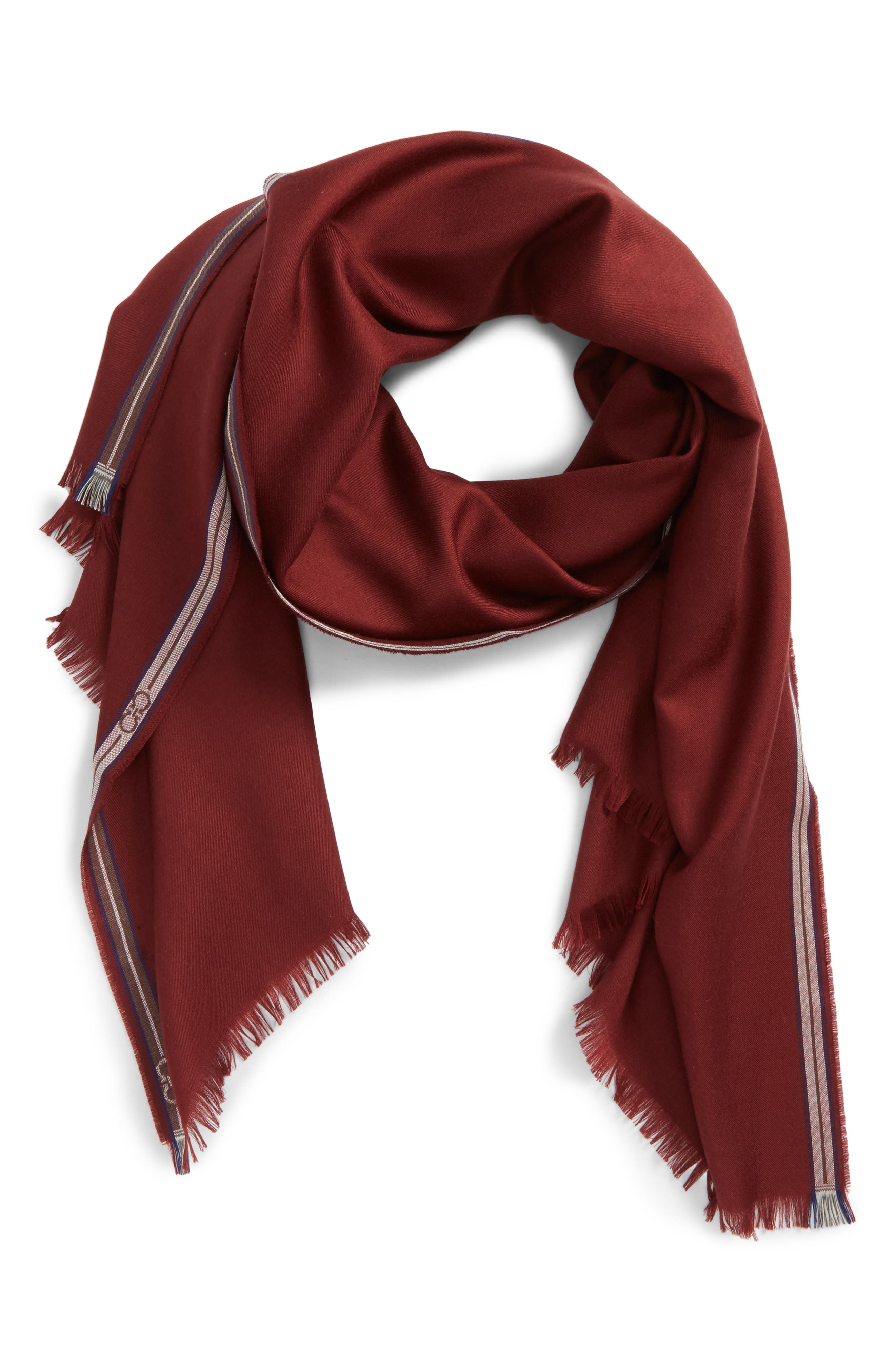 Wool & Silk Fringed Scarf,                             Main thumbnail 1, color,                             Red