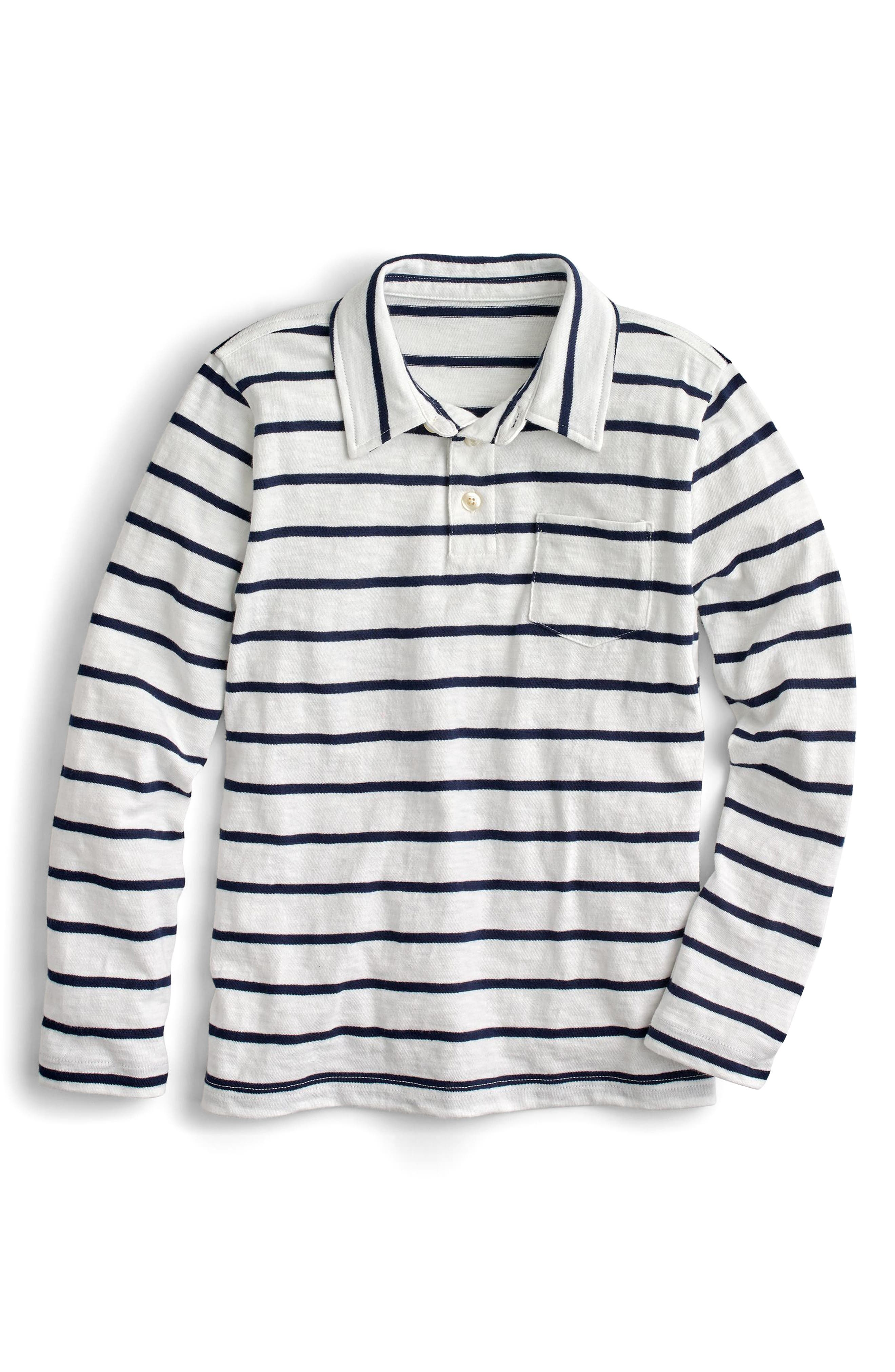 Thin Stripe Long Sleeve Polo,                         Main,                         color, Ivory