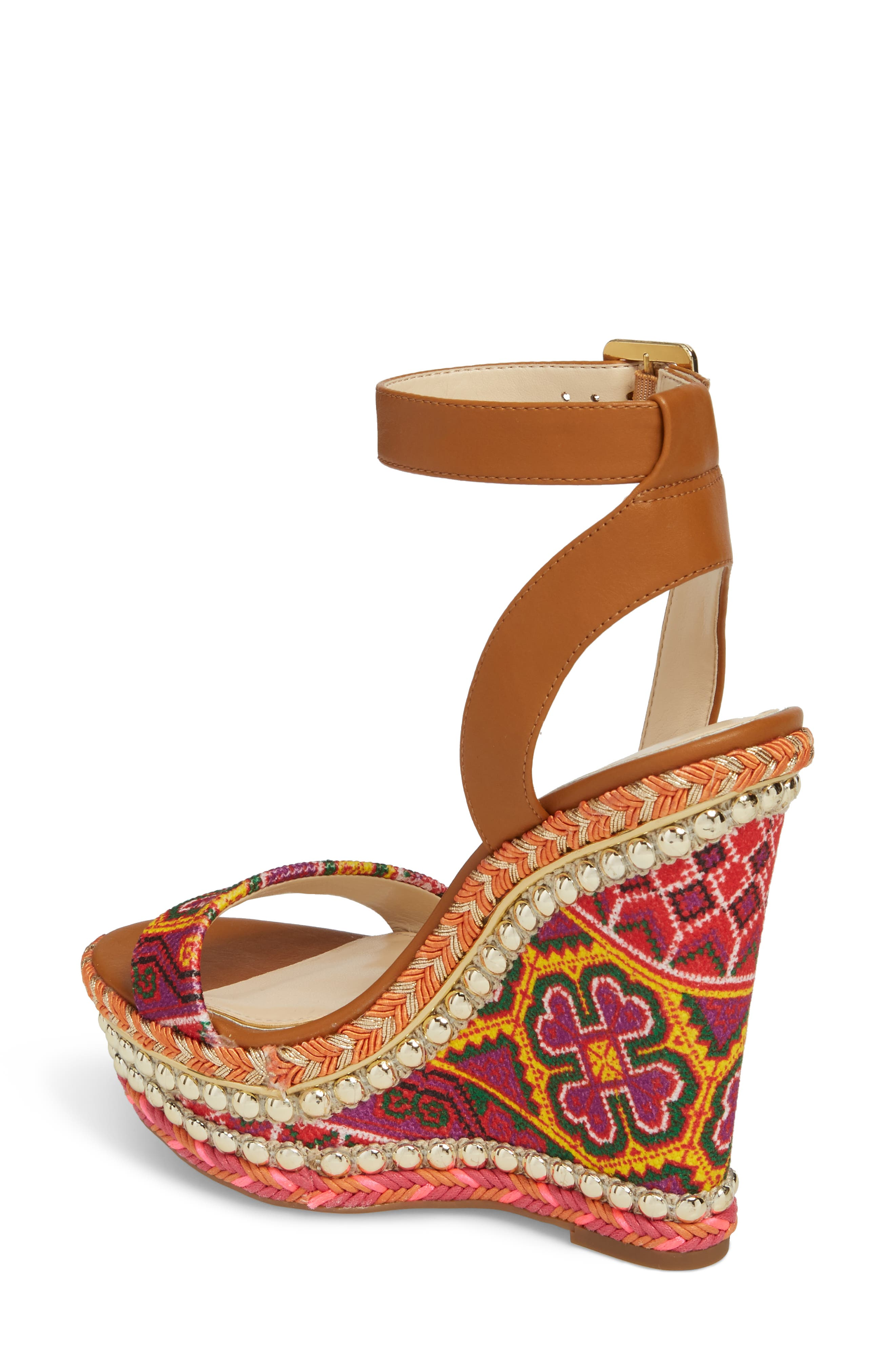 Alinda Embellished Wedge Sandal,                             Alternate thumbnail 2, color,                             Red Multi