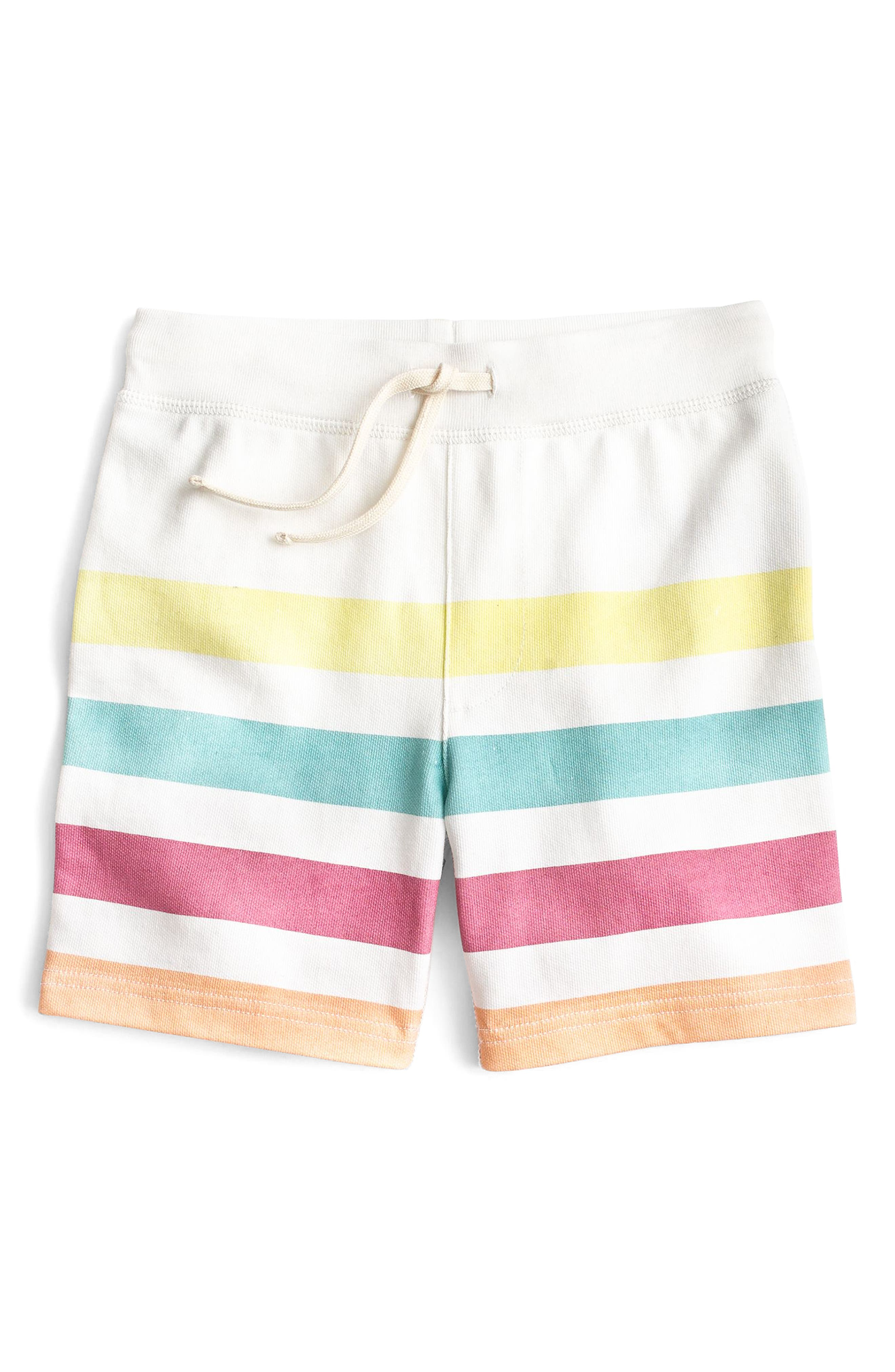 Blanket Stripe Sweat Shorts,                             Main thumbnail 1, color,                             Ivory Multi