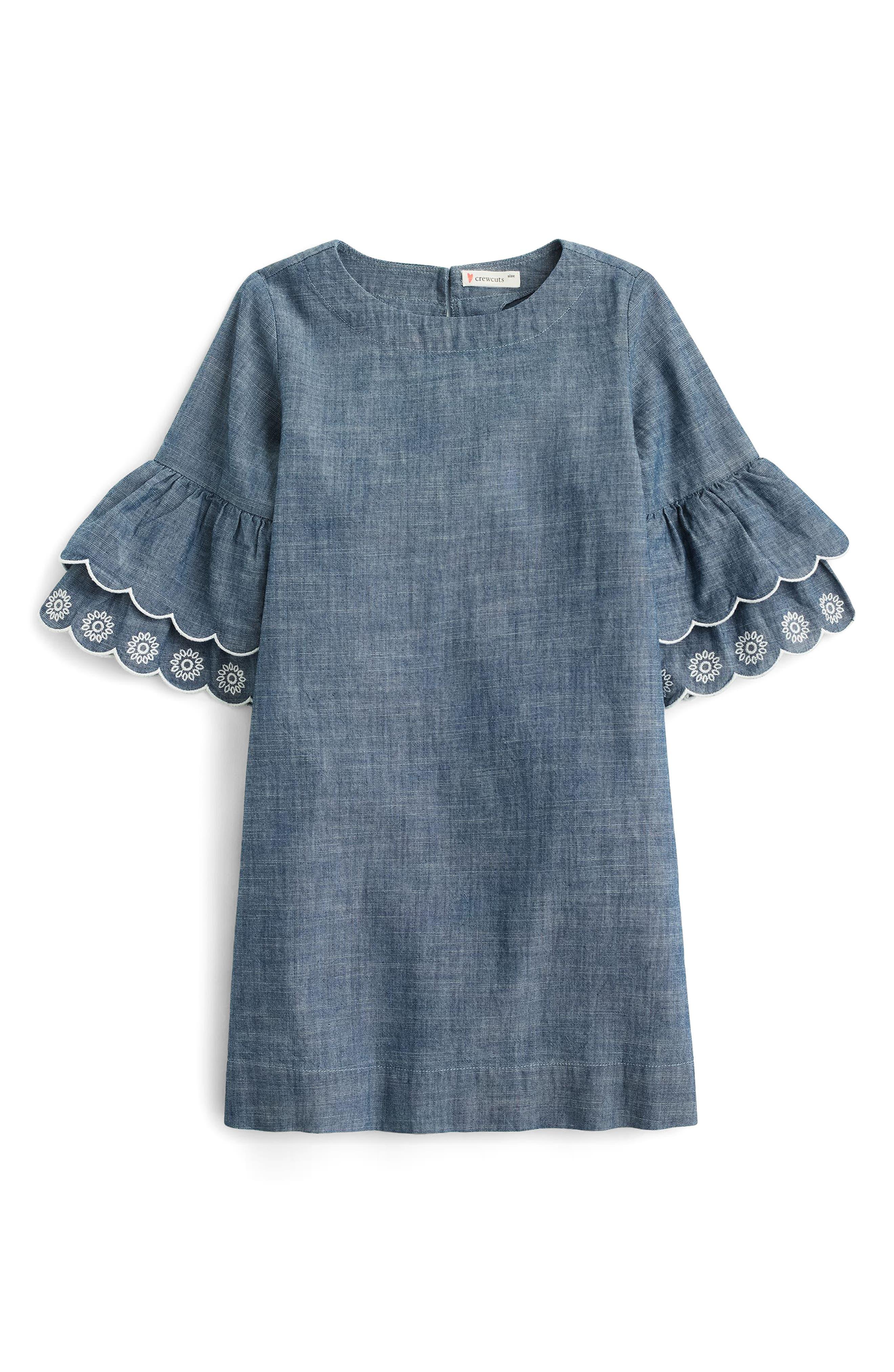 crewcuts by J.Crew Chambray Ruffle Sleeve Dress (Toddler Girls, Little Girls & Big Girls)