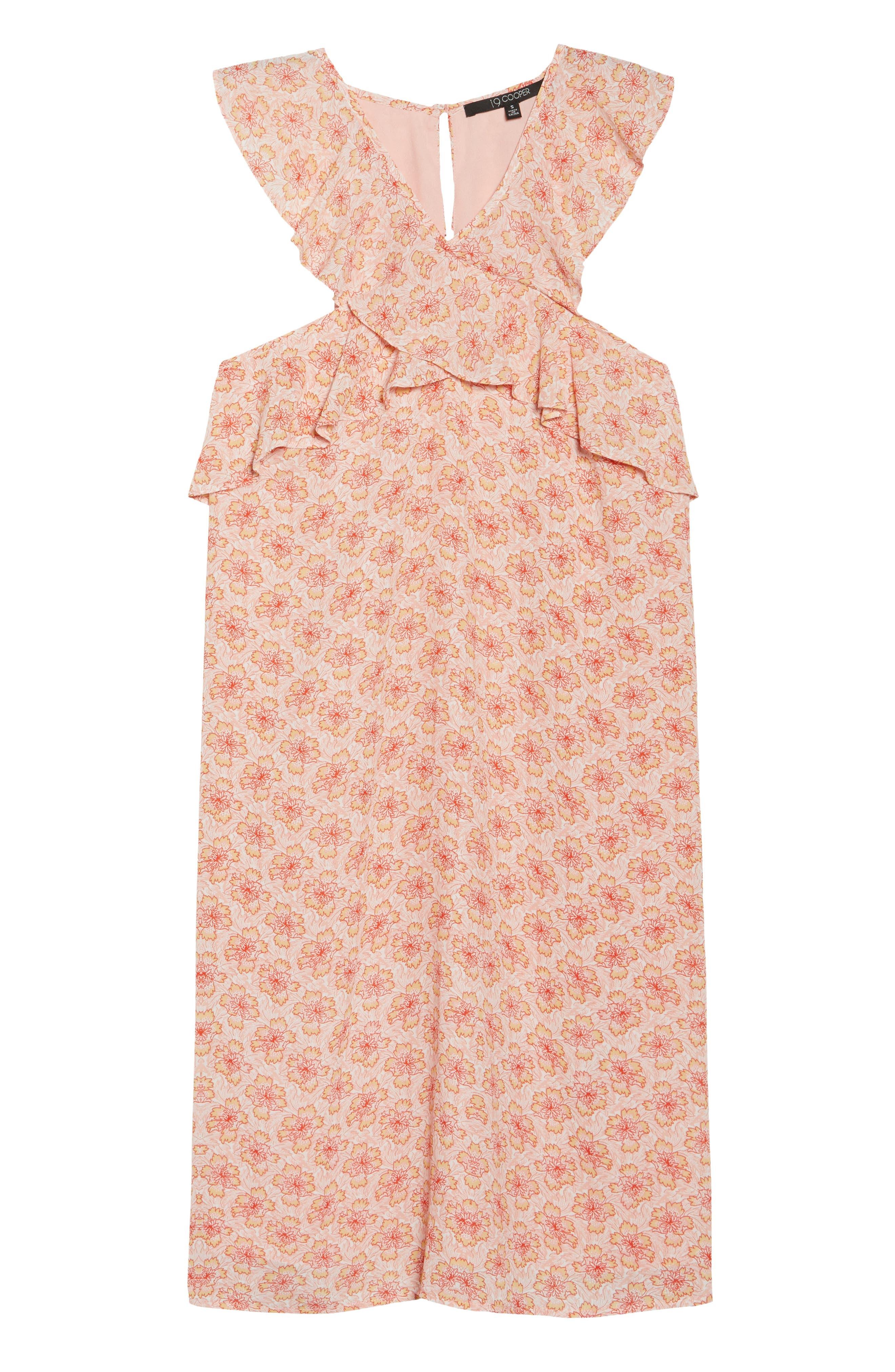 Crisscross Ruffle Shift Dress,                             Alternate thumbnail 7, color,                             Pink Multi