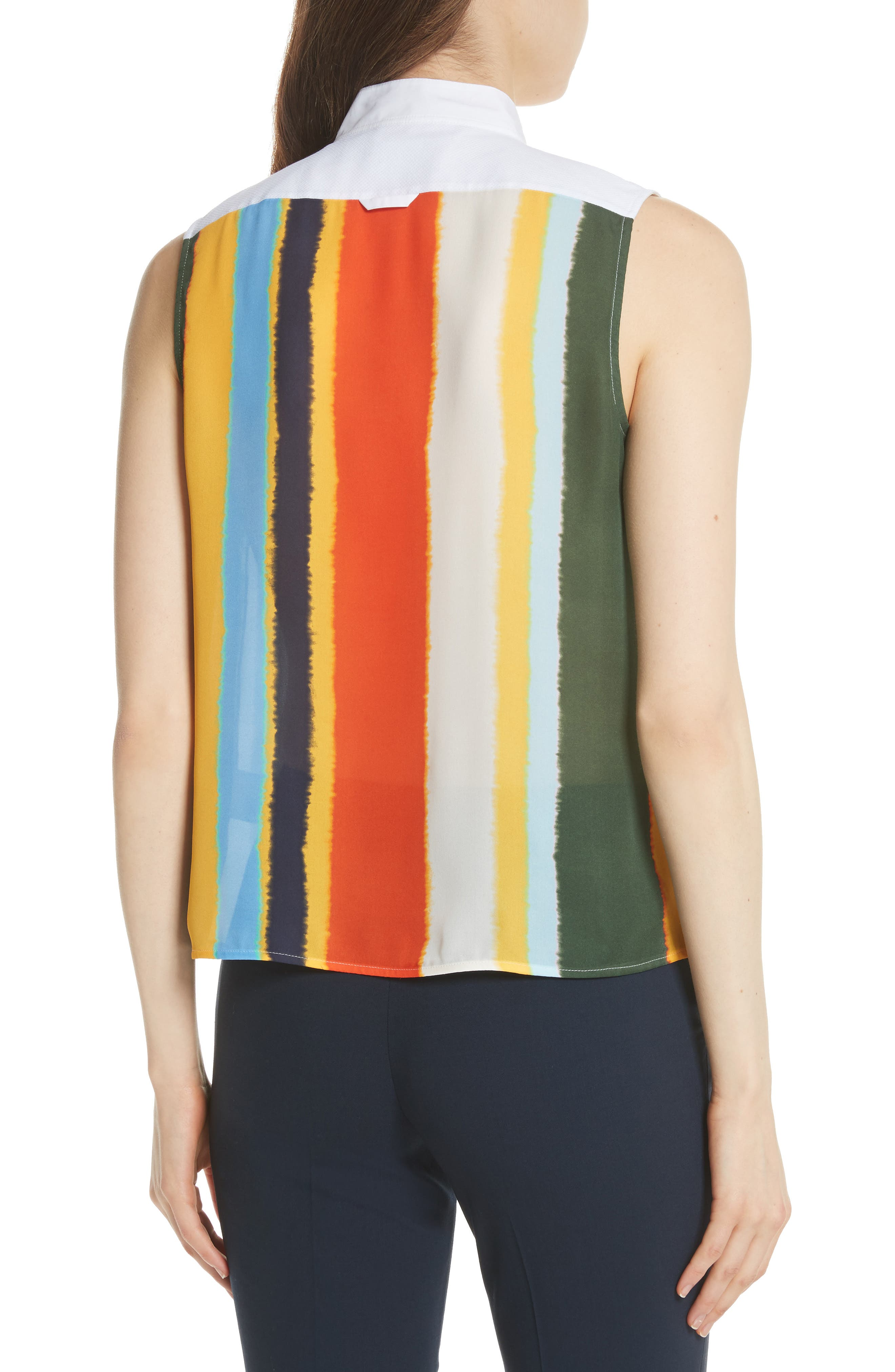 Bettina Studded Silk Georgette Top,                             Alternate thumbnail 2, color,                             Balloon Stripe