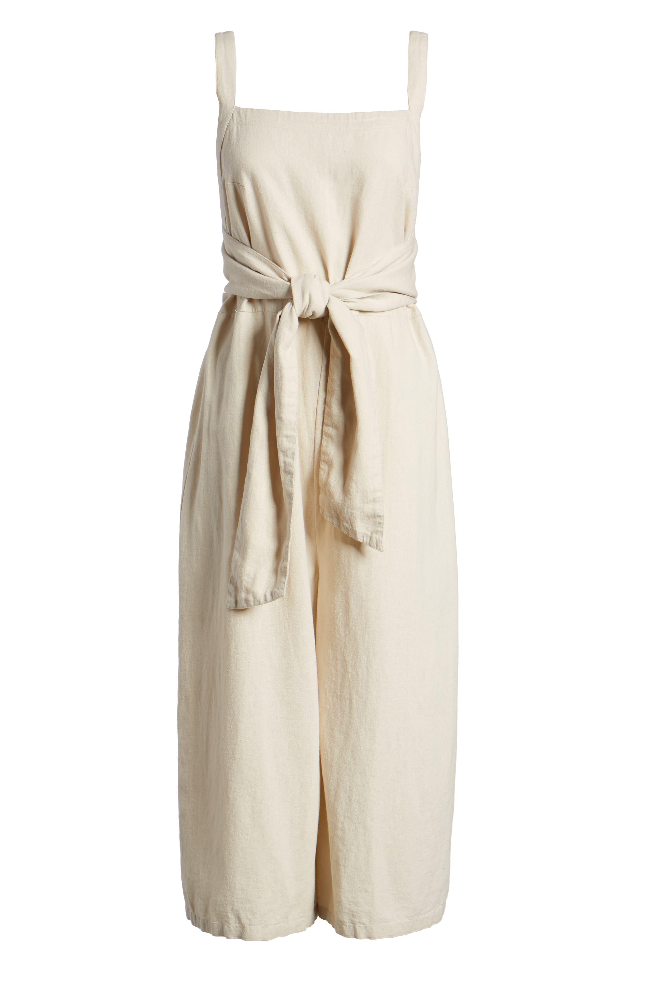 Linen Blend Tie Front Crop Jumpsuit,                             Alternate thumbnail 6, color,                             Beige Beach