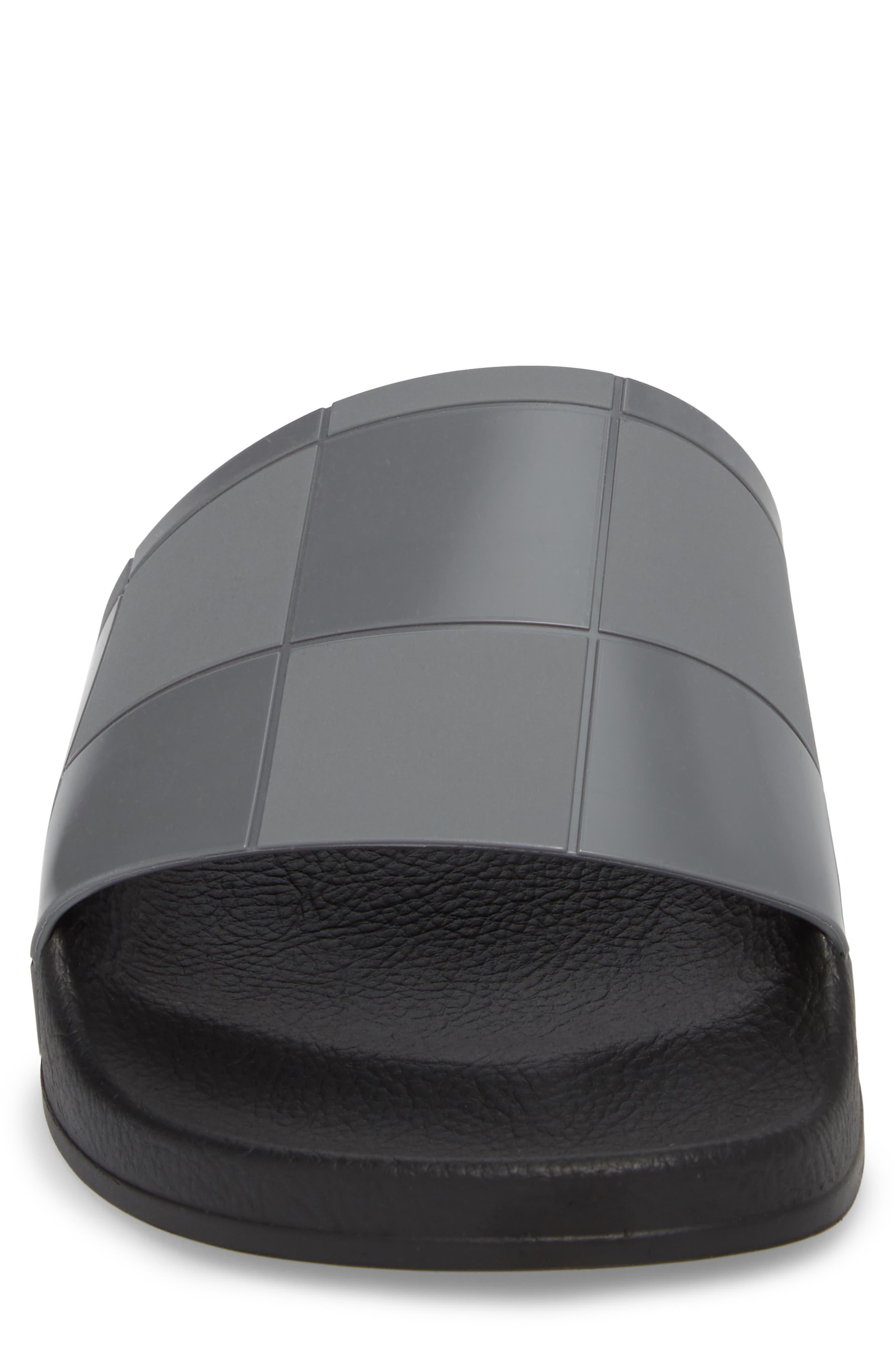 Adilette Checkerboard Sport Slide,                             Alternate thumbnail 4, color,                             Core Black/ Granite