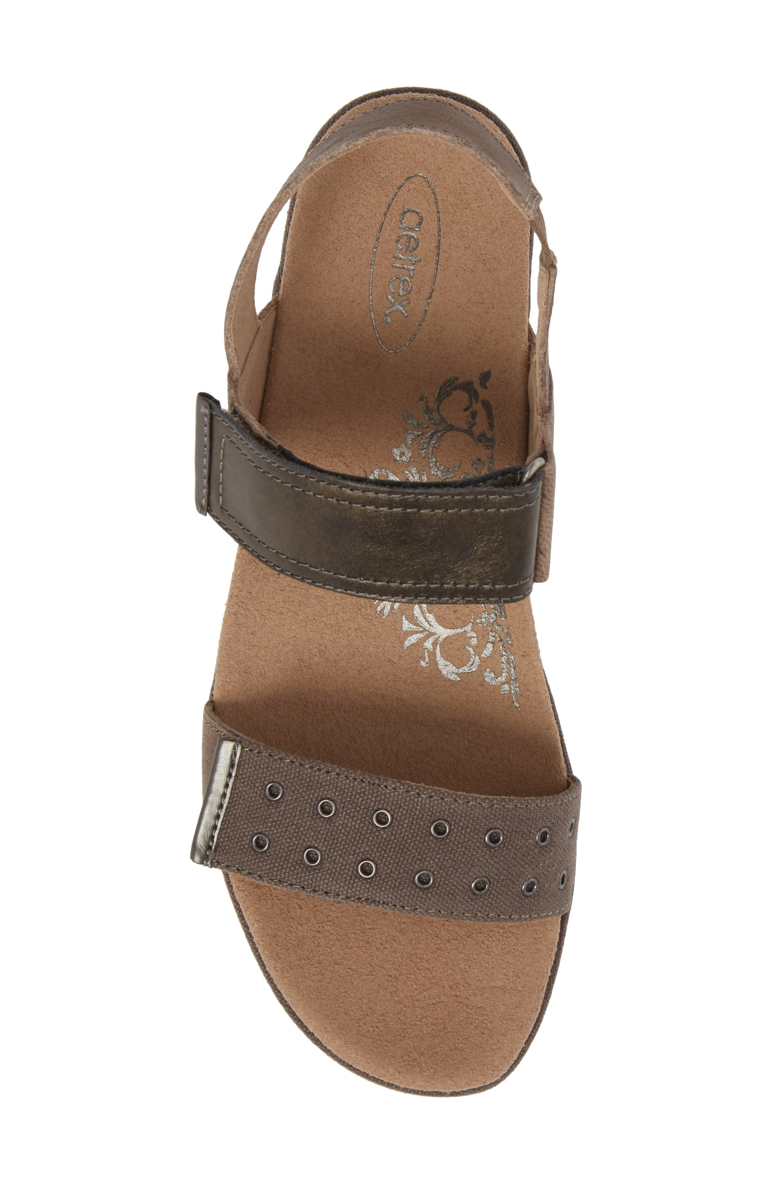 Tiffany Wedge Sandal,                             Alternate thumbnail 5, color,                             Stone Leather