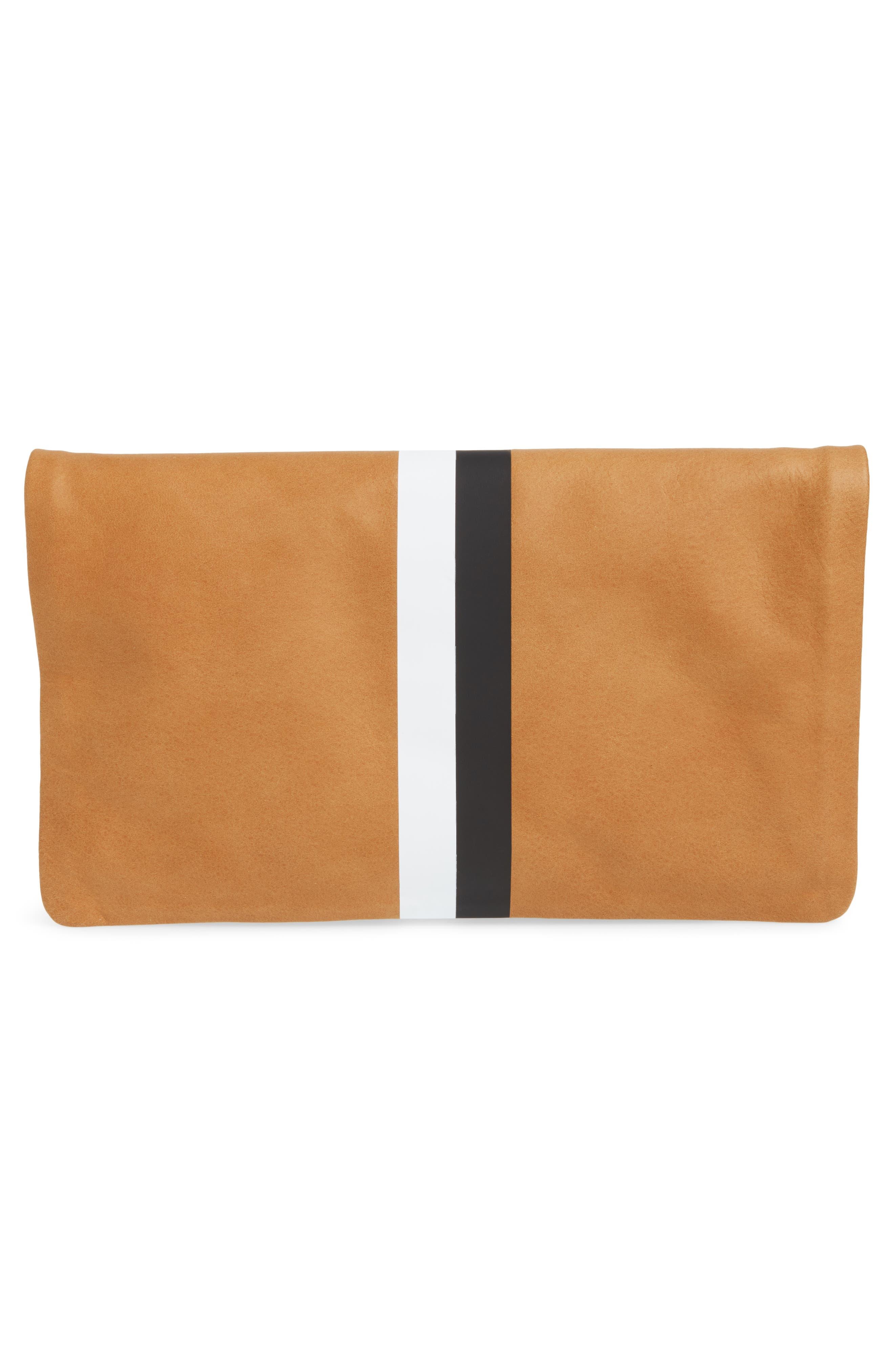Center Stripe Leather Foldover Clutch,                             Alternate thumbnail 3, color,                             Nubuck Blck Whte Stripe