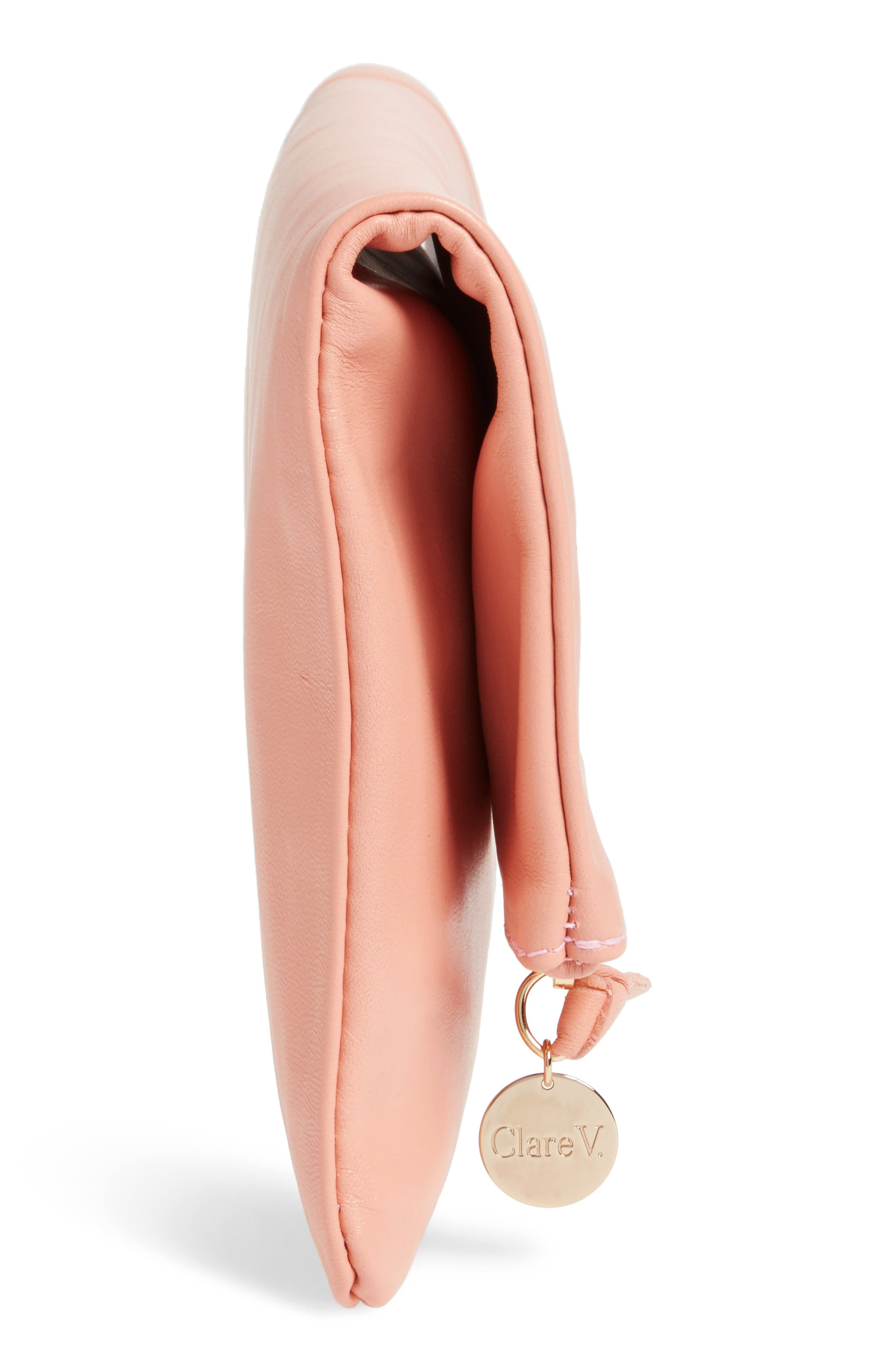 Leather Foldover Clutch,                             Alternate thumbnail 4, color,                             Blush Golfa