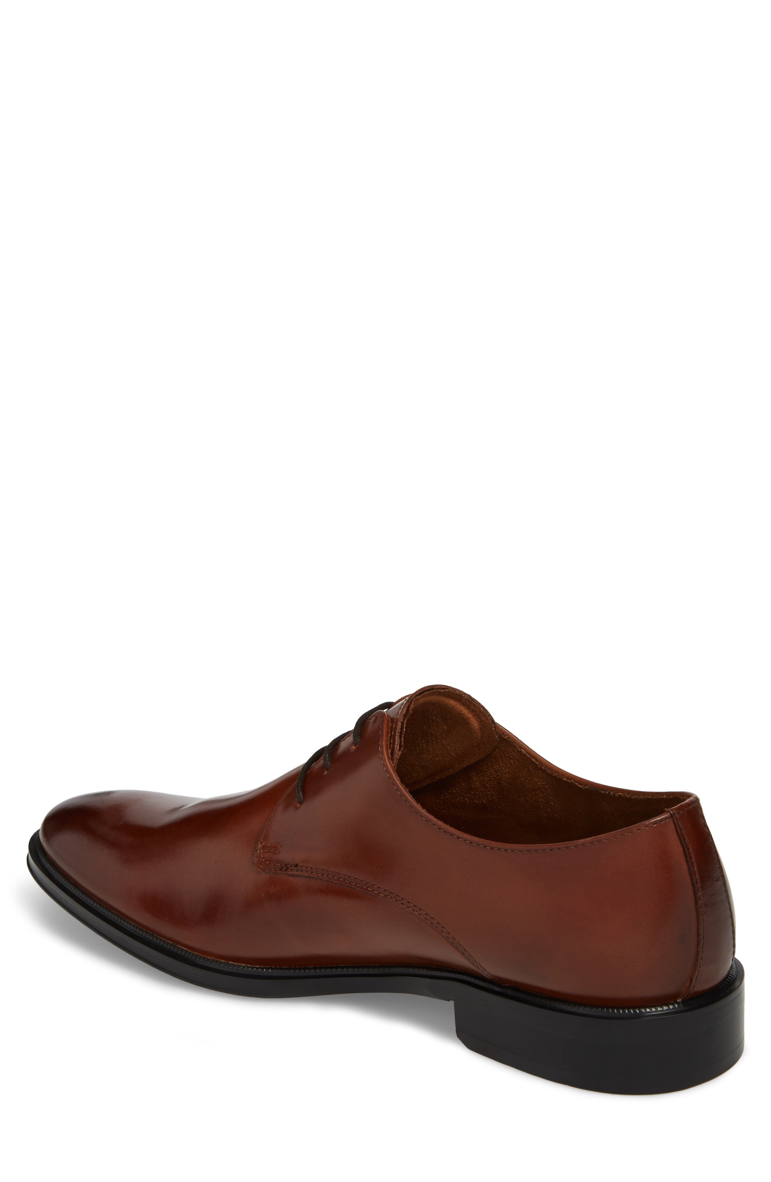 Kenneth Cole Tully Plain Toe Derby,                             Alternate thumbnail 2, color,                             Cognac Leather