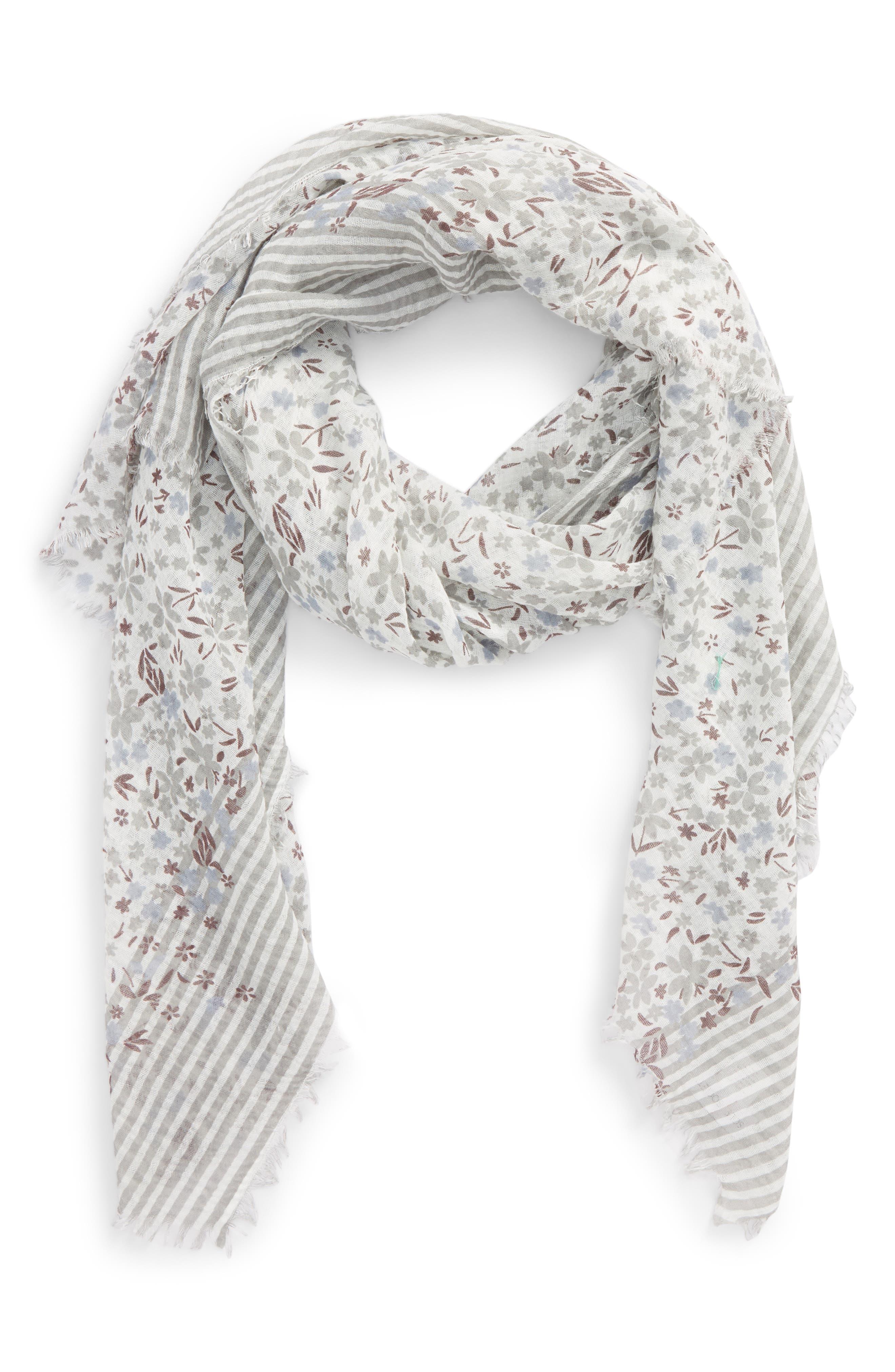 Floral Stripe Scarf,                         Main,                         color, Denim