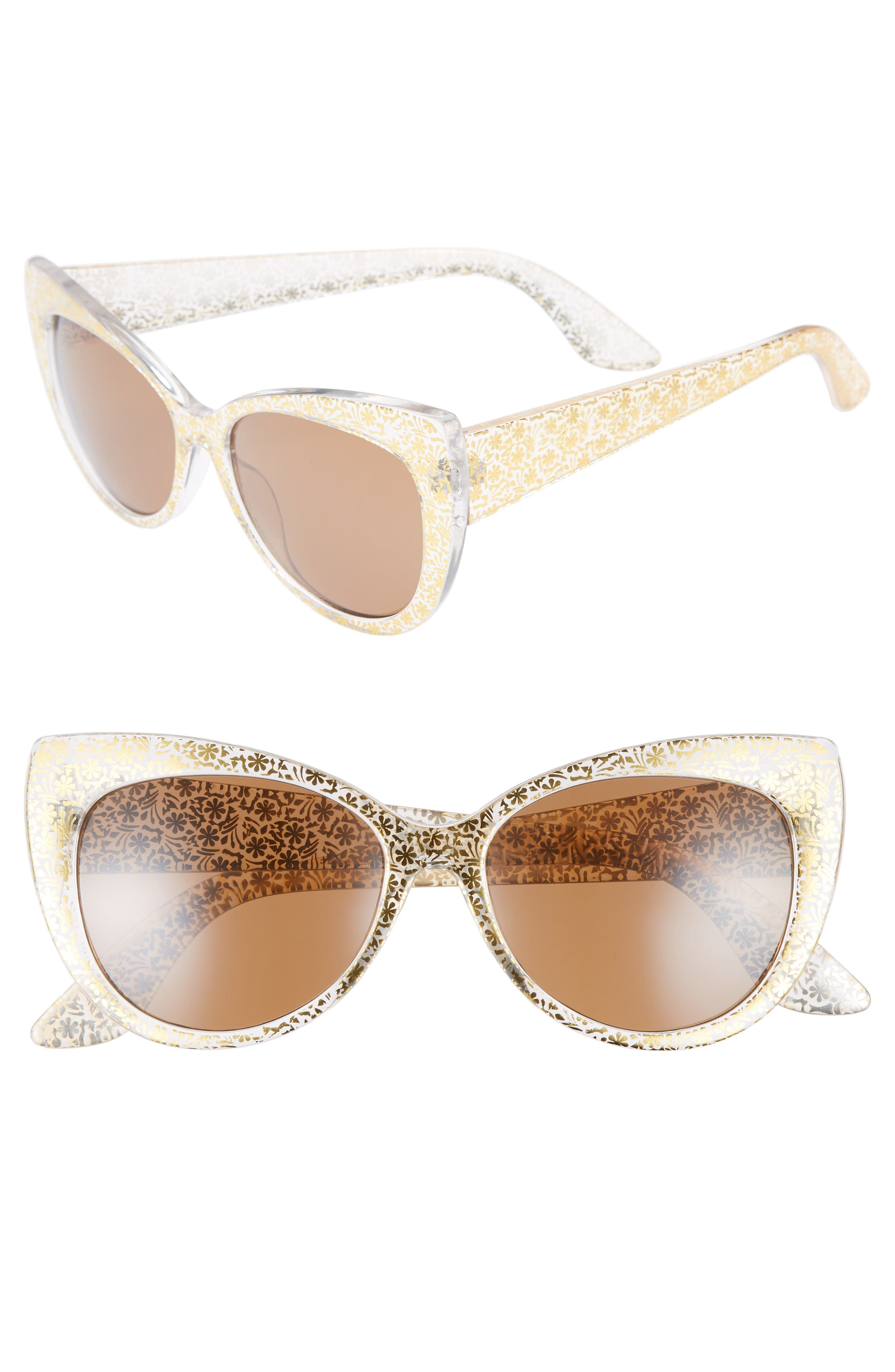 55mm Floral Cat Eye Sunglasses,                         Main,                         color, Gold/ Gold
