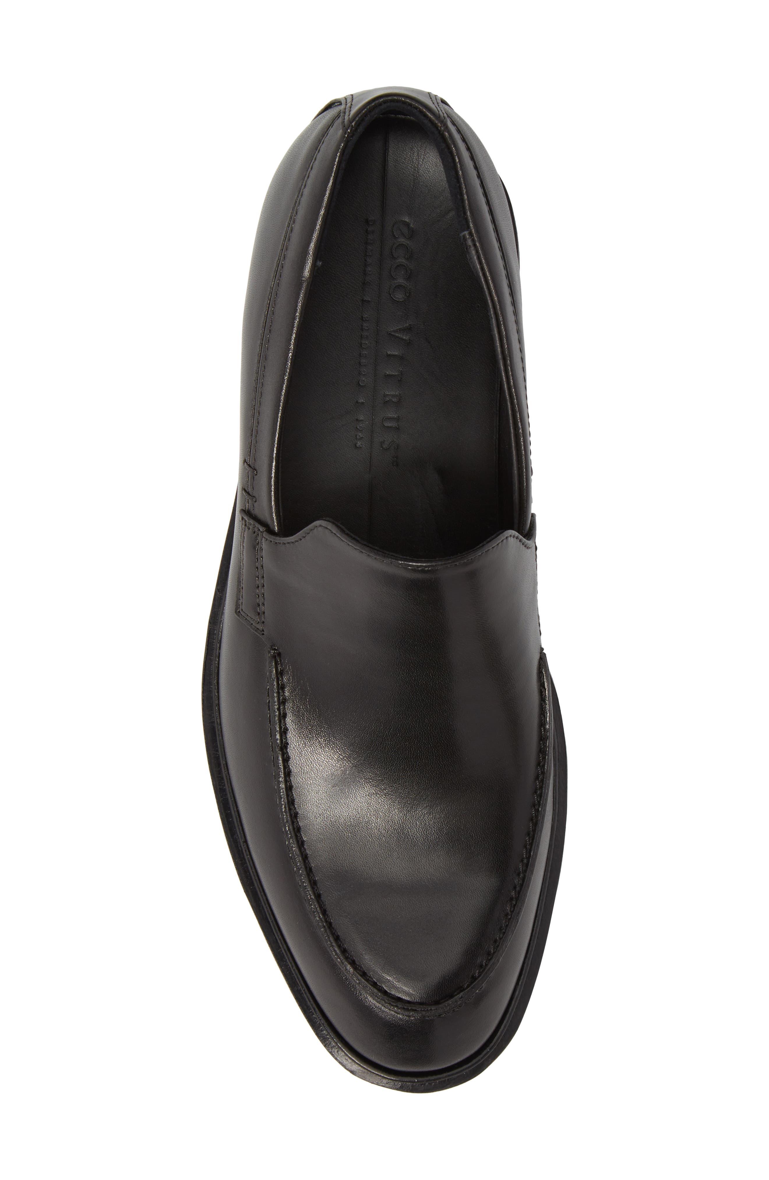 Vitrus II Apron Toe Loafer,                             Alternate thumbnail 5, color,                             Black Leather