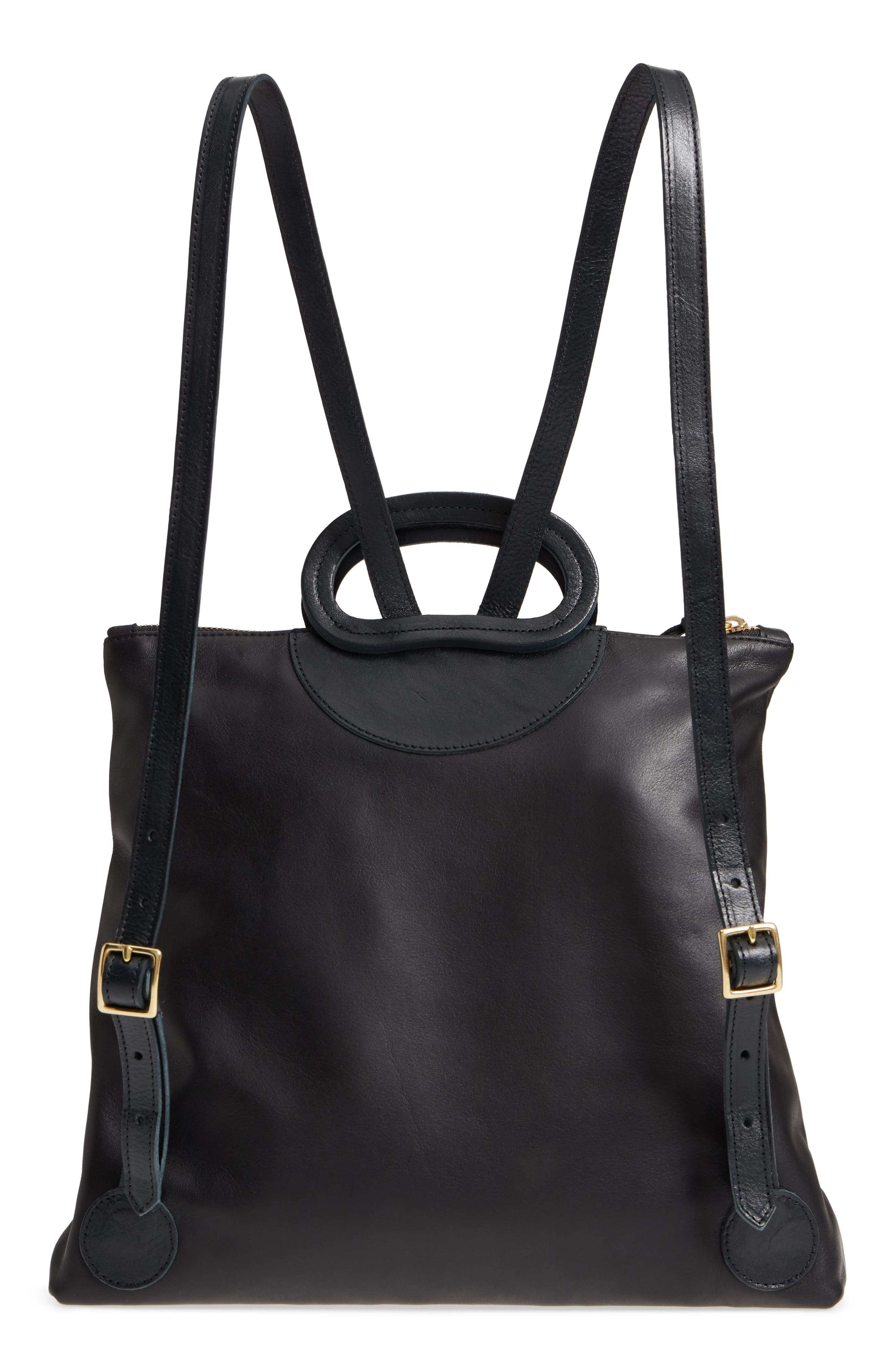 Marcelle Lambskin Leather Backpack,                             Alternate thumbnail 3, color,                             Black