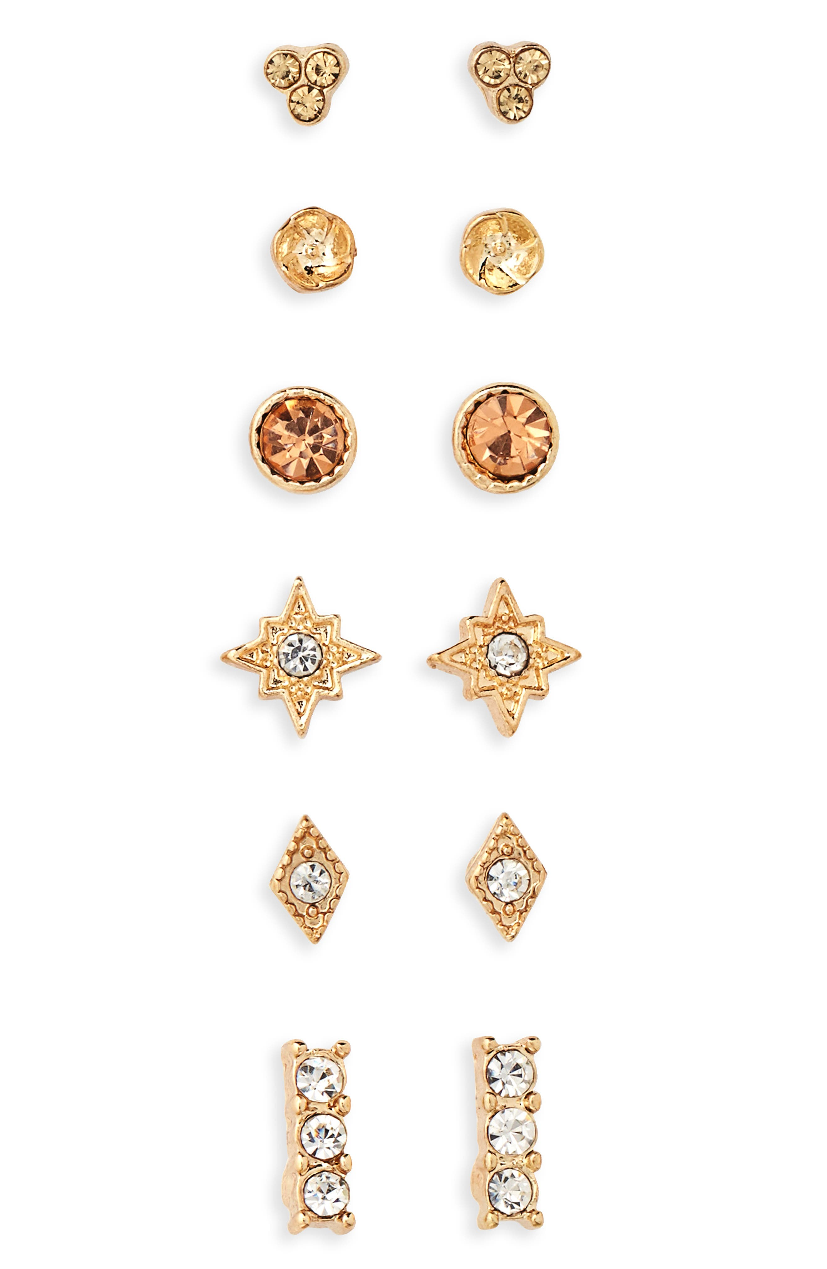 6-Pack Crystal Earrings,                             Main thumbnail 1, color,                             Gold/ Crystal