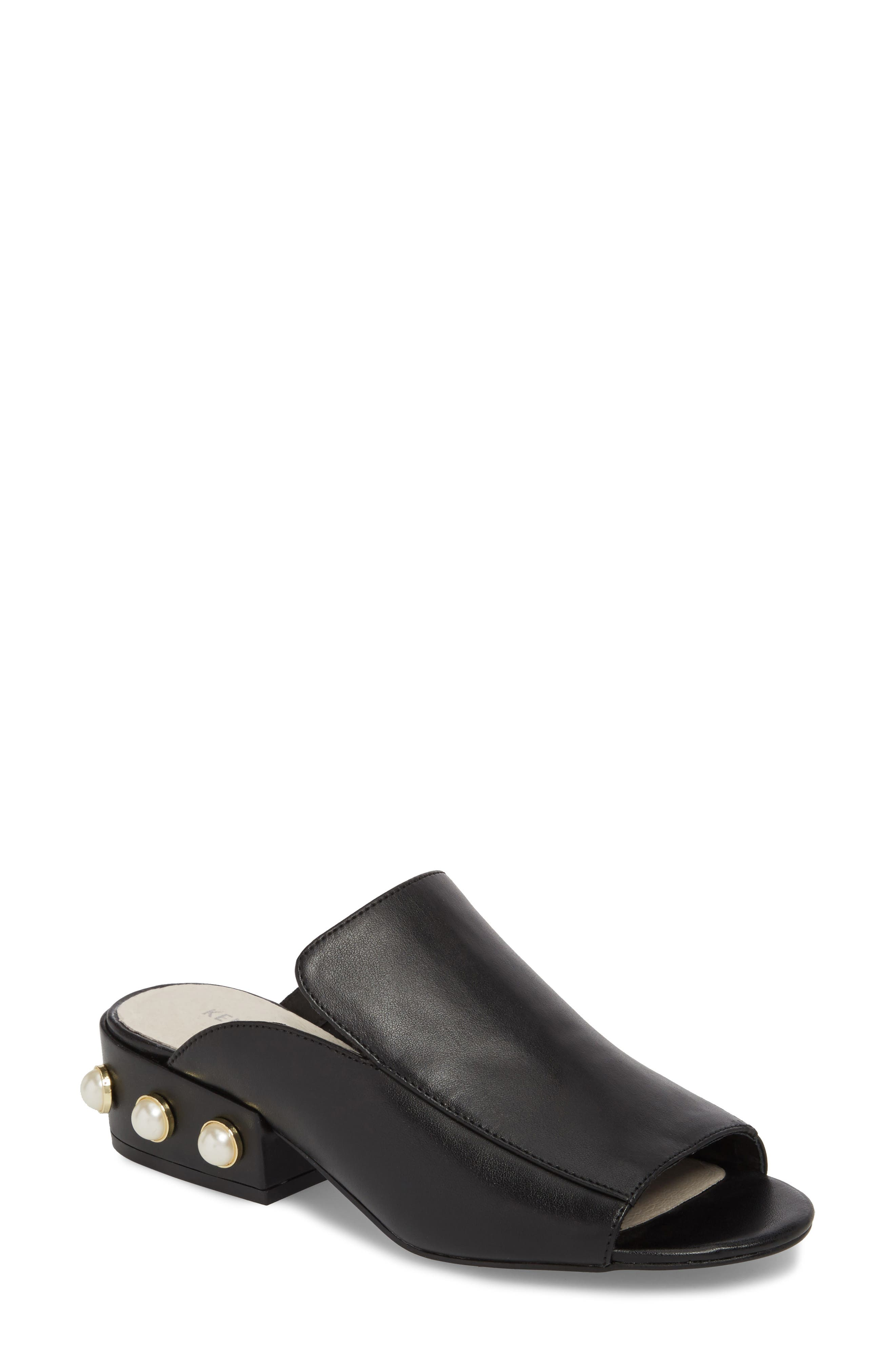 Farley Embellished Mule,                             Main thumbnail 1, color,                             Black Leather