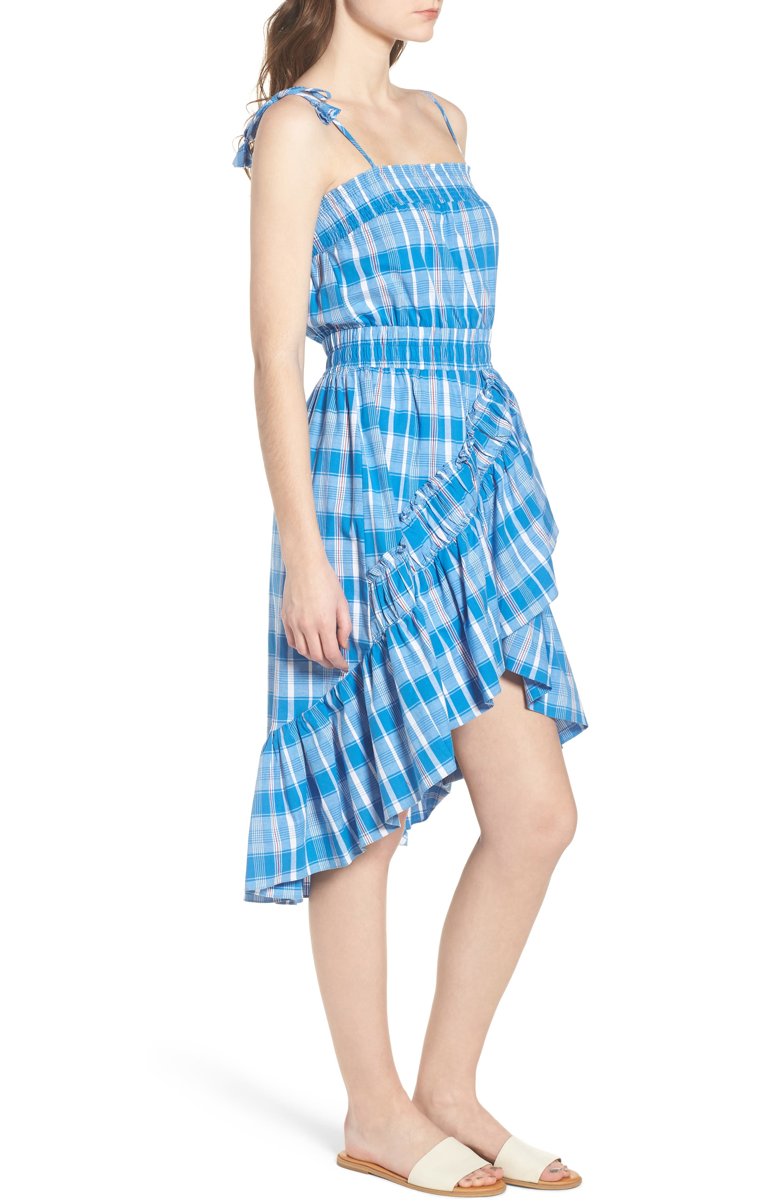Fernanda High/Low Dress,                             Alternate thumbnail 3, color,                             Blue Fe1