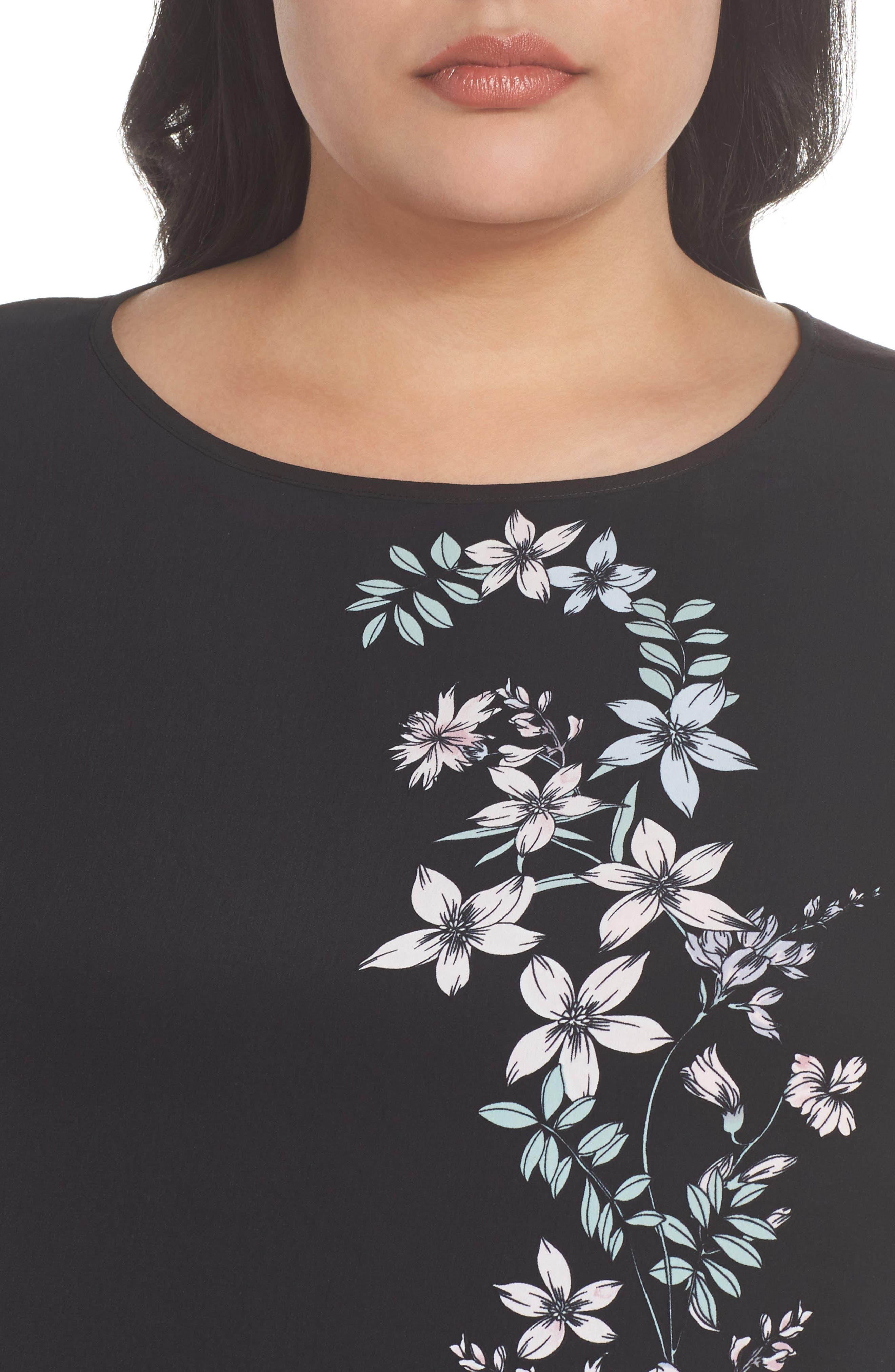 Floral Print Top,                             Alternate thumbnail 4, color,                             Rich Black