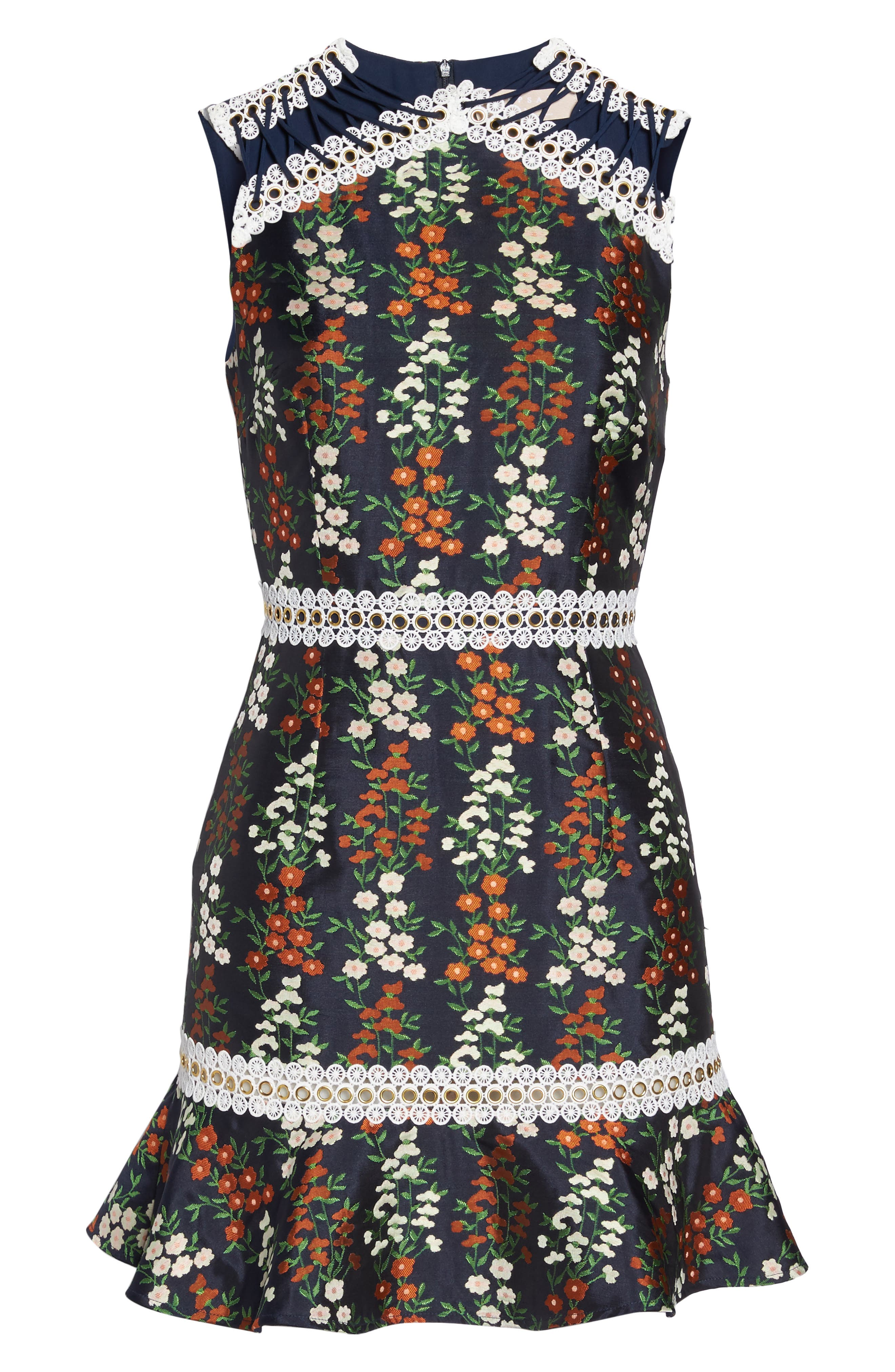 Faithful Floral Lace-Up Shoulder Dress,                             Alternate thumbnail 6, color,                             Navy