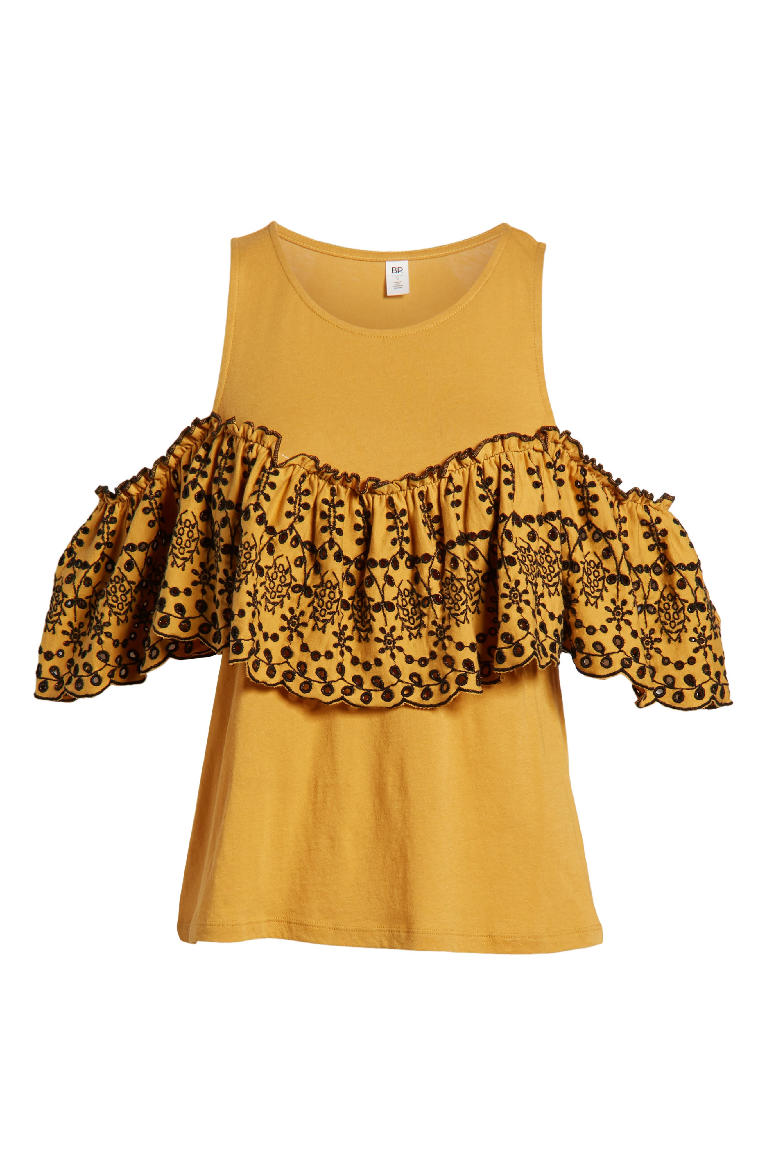 Eyelet Ruffle Cold Shoulder Top,                             Alternate thumbnail 7, color,                             Yellow Spruce