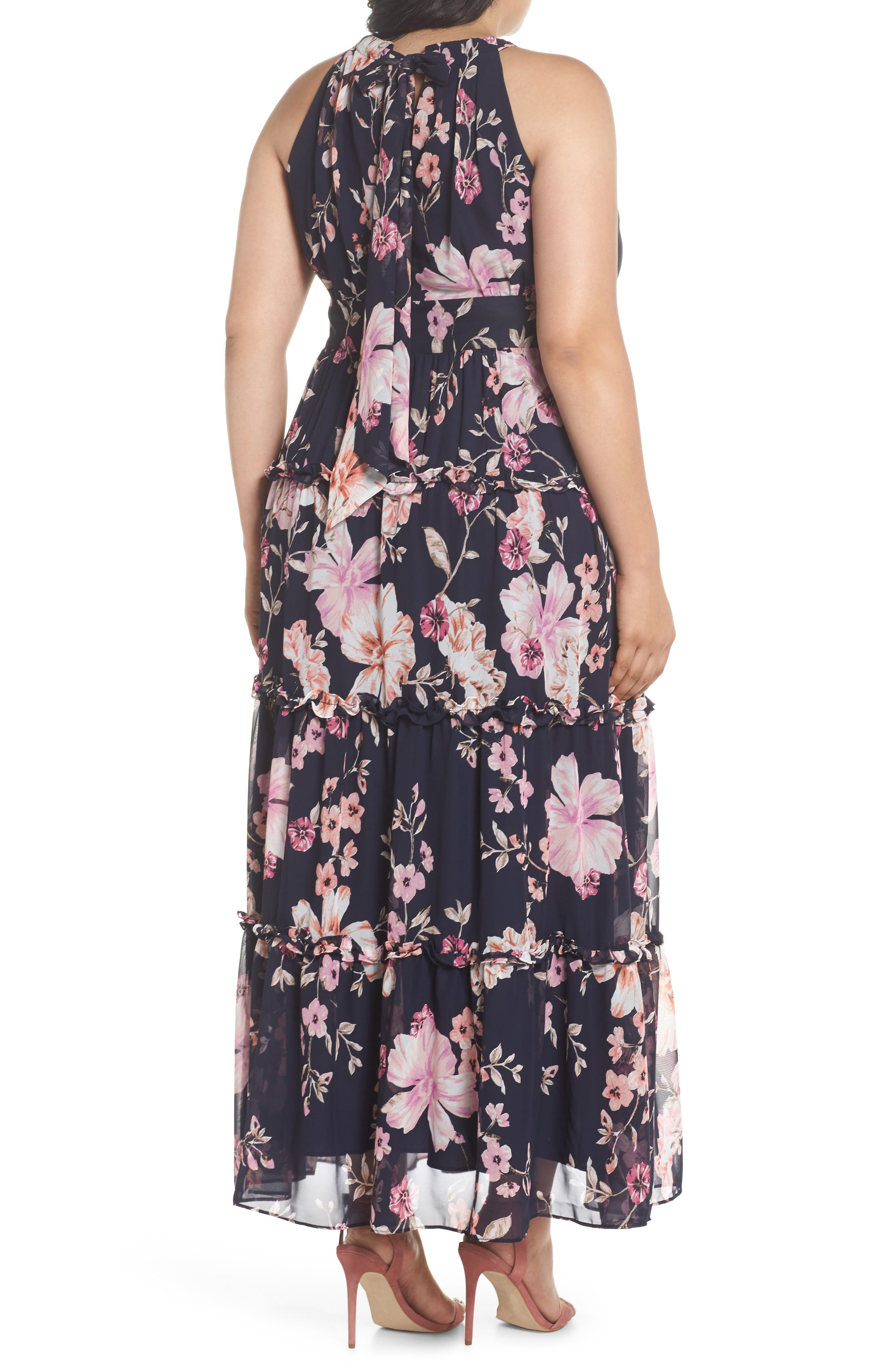 Floral Ruffle Trim Chiffon Halter Maxi Dress,                             Alternate thumbnail 2, color,                             Navy/ Pink