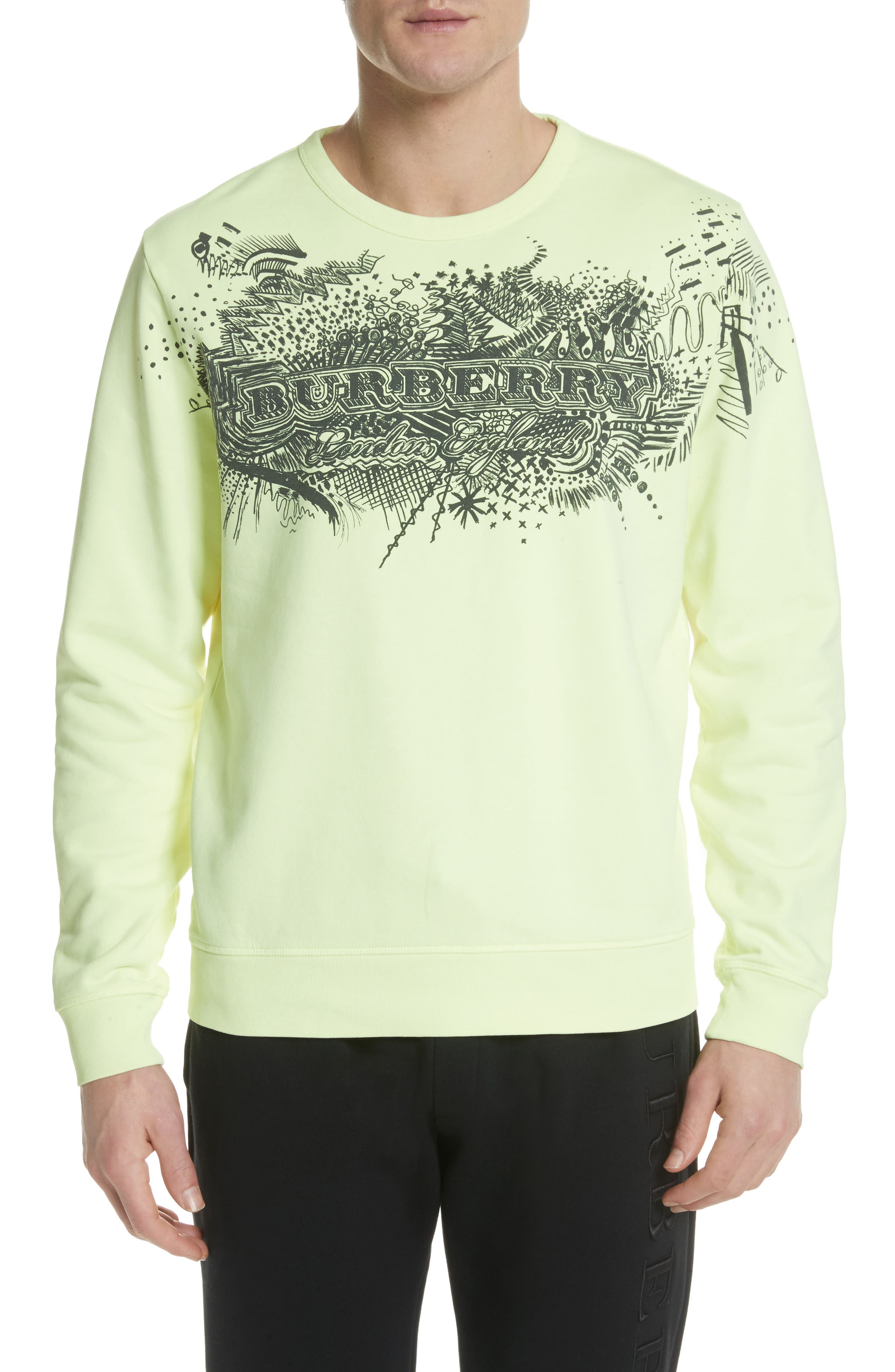 Sauer Graphic Crewneck Sweatshirt,                             Main thumbnail 1, color,                             Bright Lemon