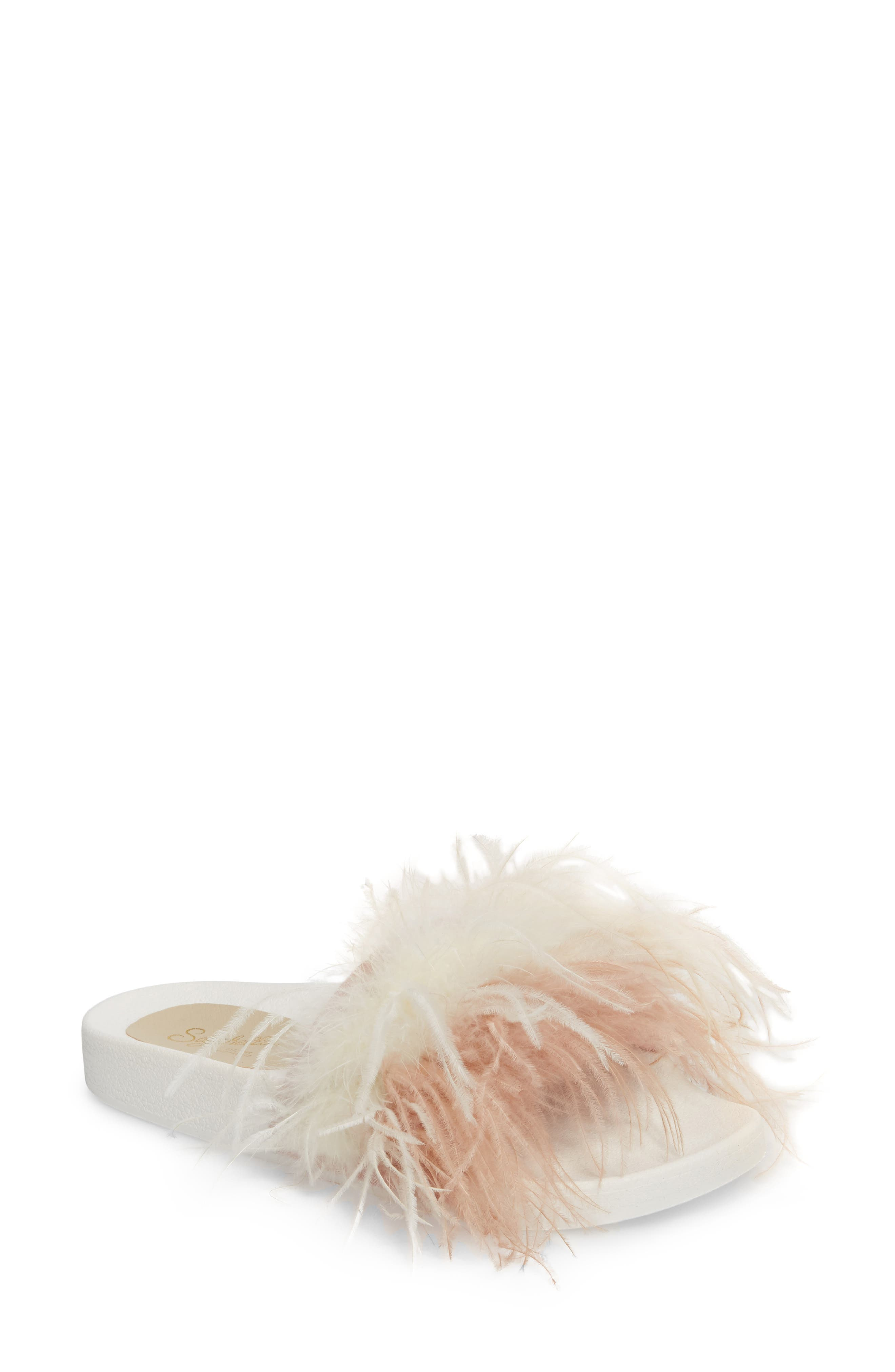 In Your Cap Feather Slide Sandal,                             Main thumbnail 1, color,                             Pink Leather
