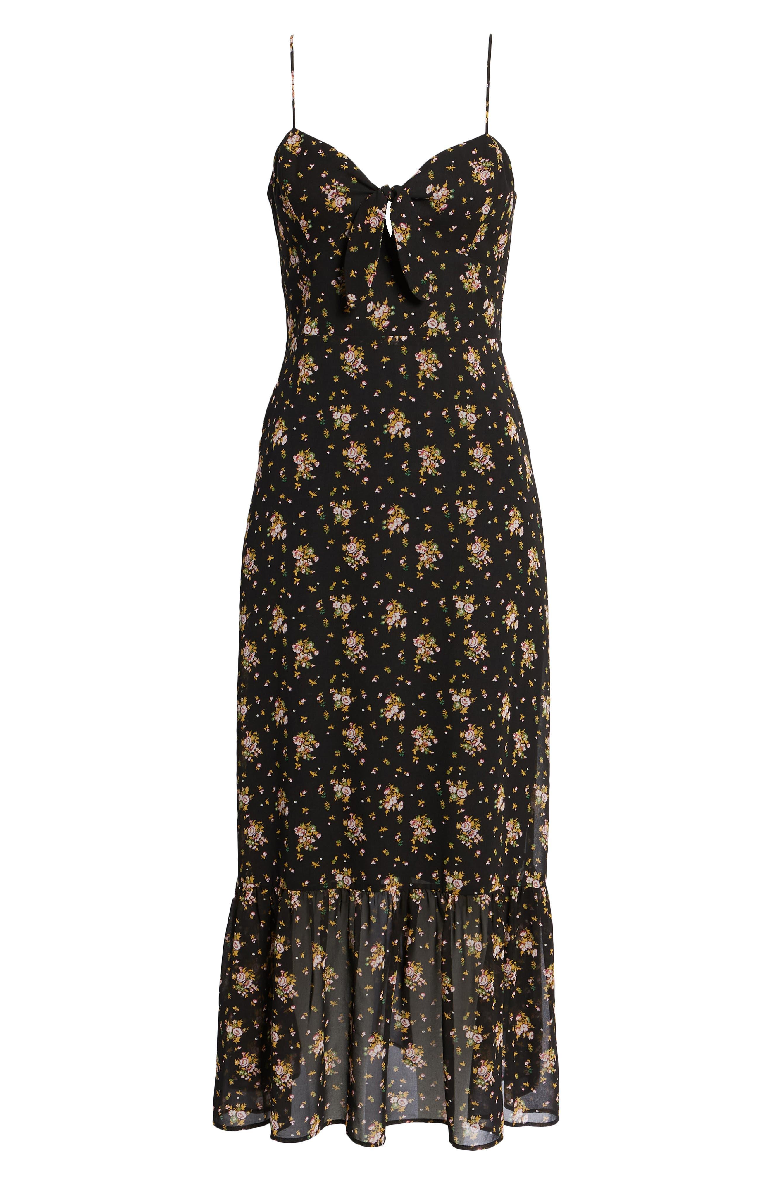 Tie Front Midi Dress,                             Alternate thumbnail 6, color,                             Black Ditzy Floral