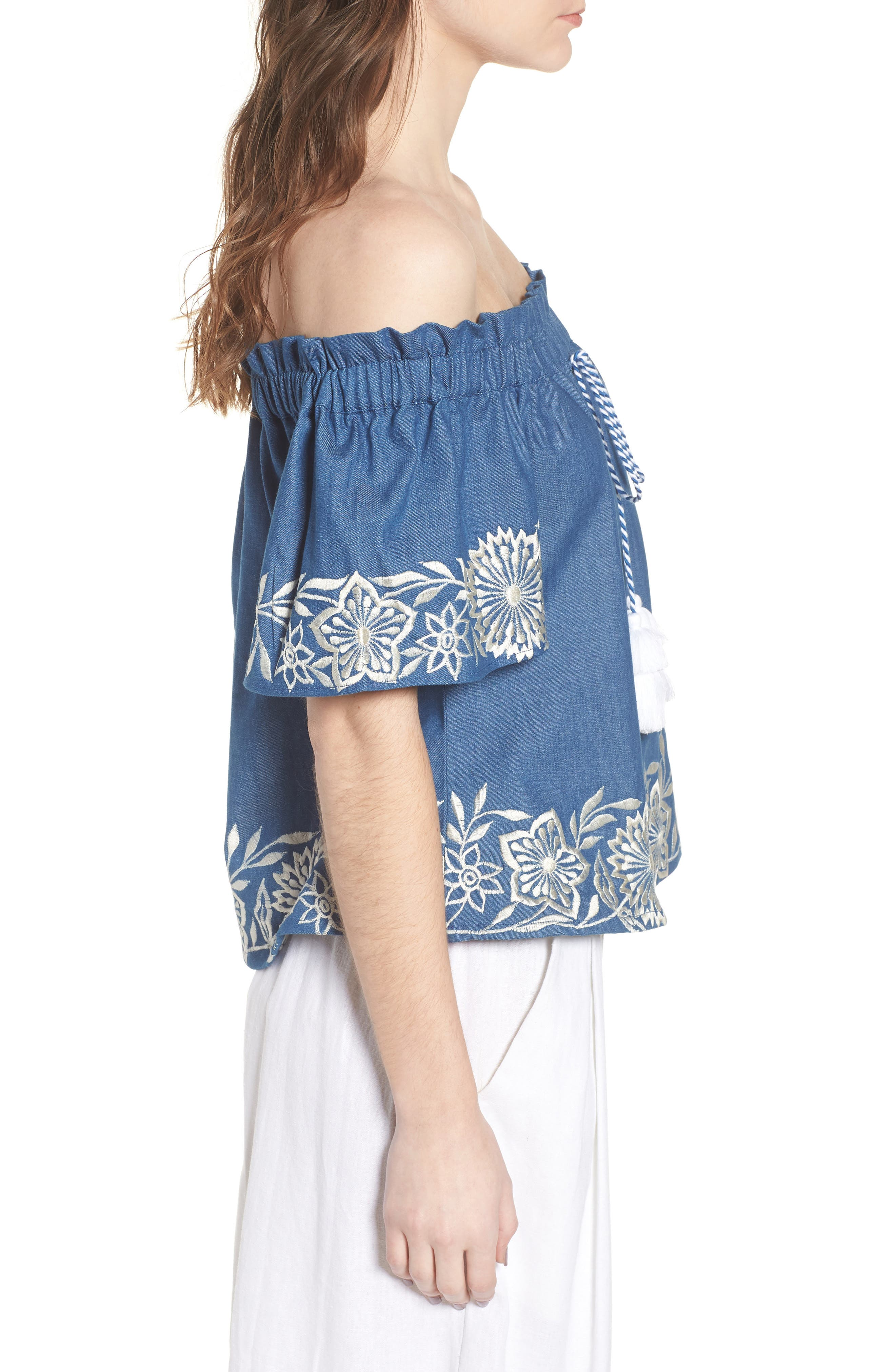 Nisi Embroidered Off the Shoulder Top,                             Alternate thumbnail 3, color,                             Blue