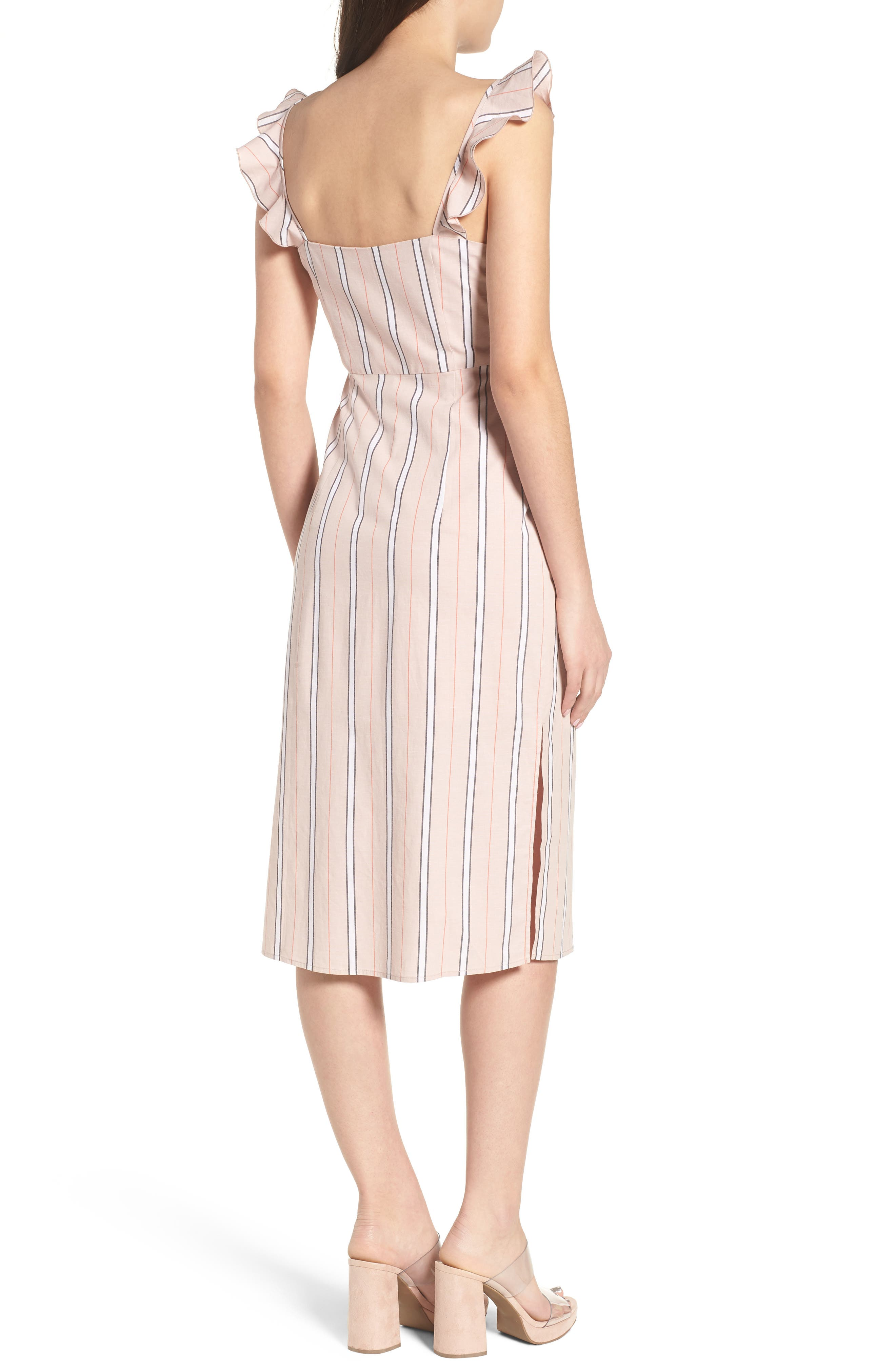 Verona Cutout Midi Dress,                             Alternate thumbnail 2, color,                             Coral Stripe