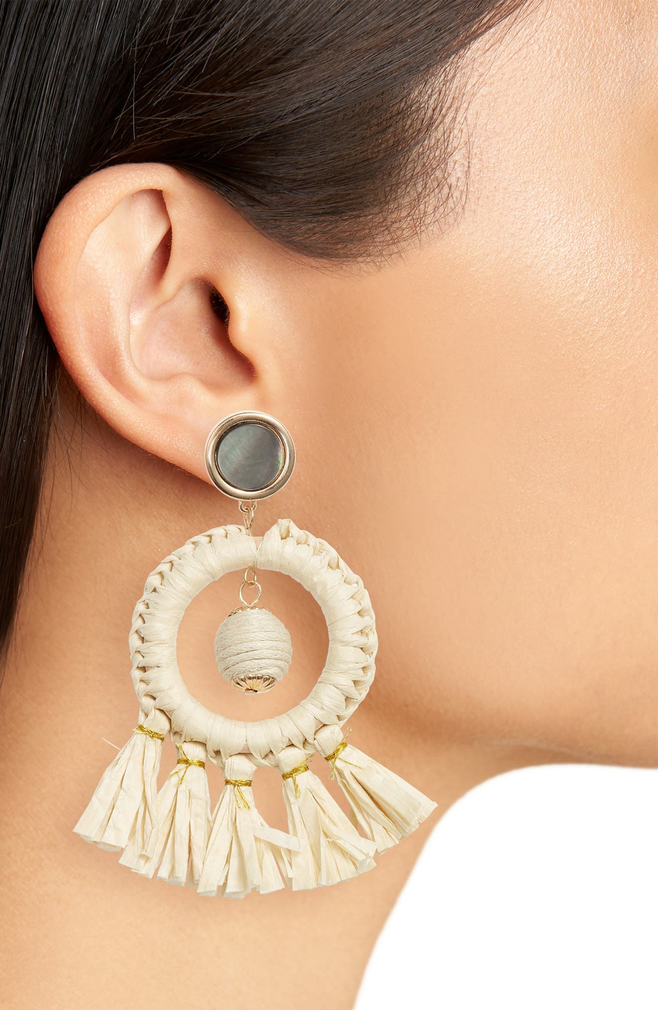 Shell & Straw Drop Earrings,                             Alternate thumbnail 2, color,                             Natural