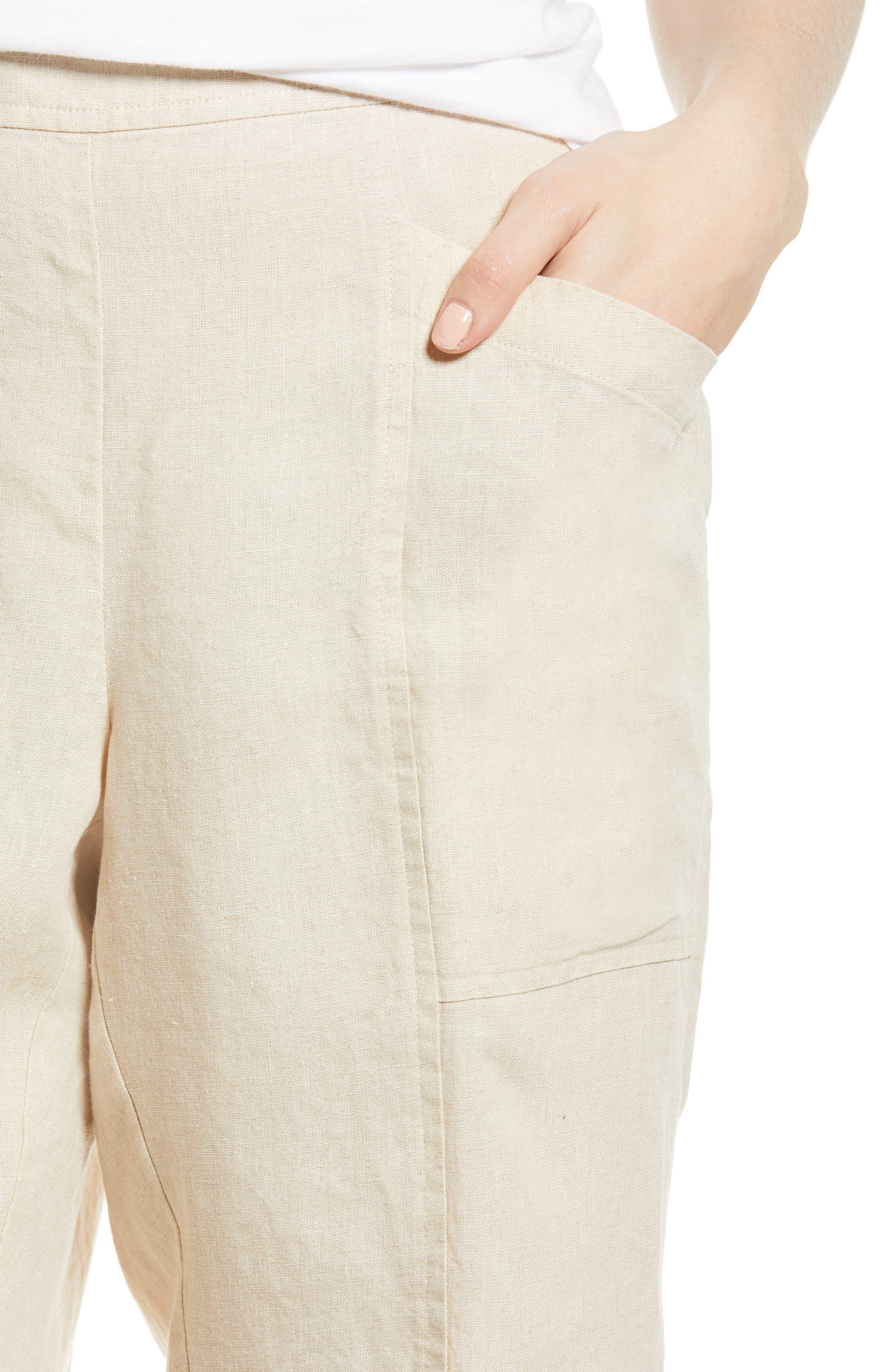 Organic Linen City Shorts,                             Alternate thumbnail 4, color,                             Unnatural