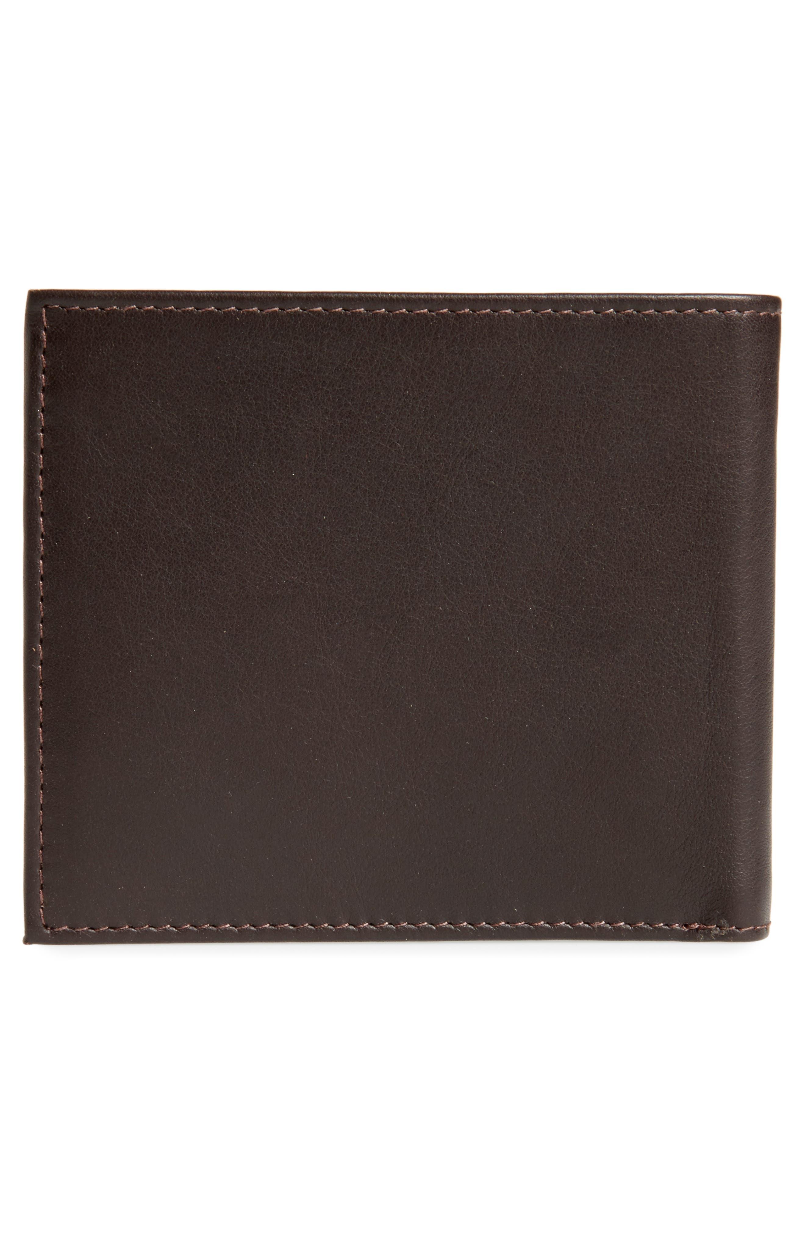 Bourbon Stripe Leather Billfold,                             Alternate thumbnail 3, color,                             Chocolate