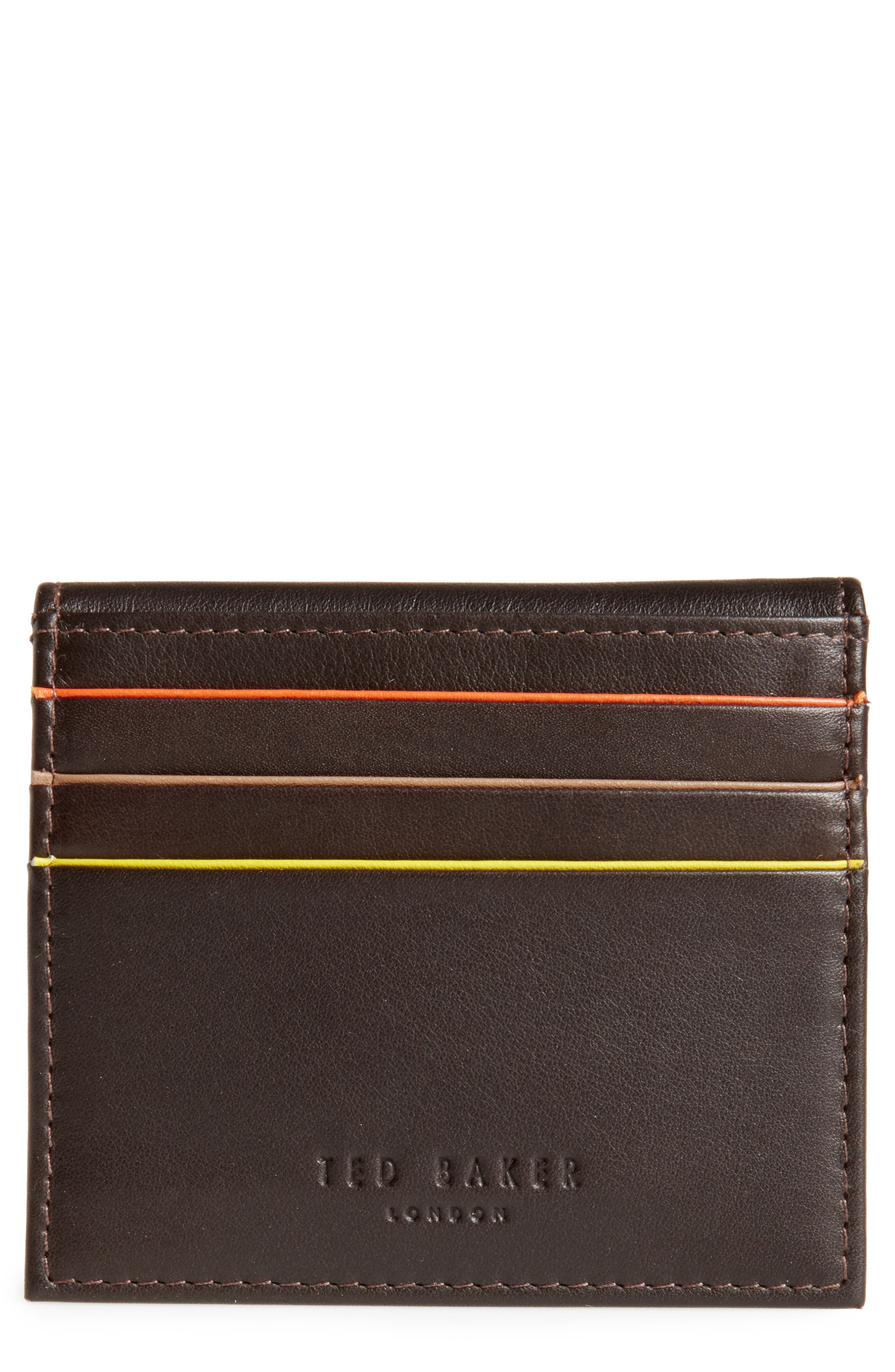 Foxes Stripe Leather Foldover Card Case,                             Main thumbnail 1, color,                             Chocolate