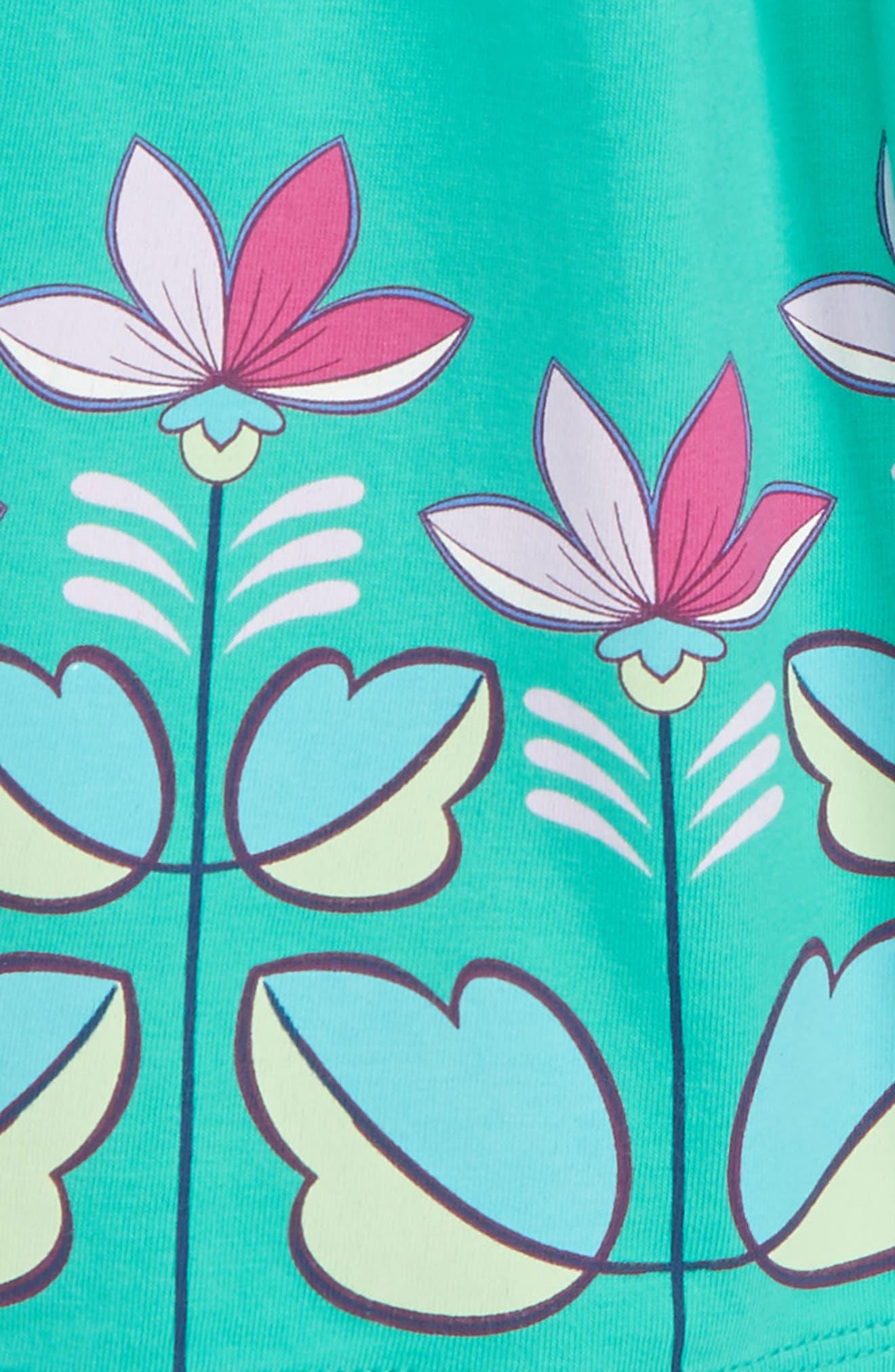Flower Print Wrap Neck Knit Dress,                             Alternate thumbnail 2, color,                             Green Pop